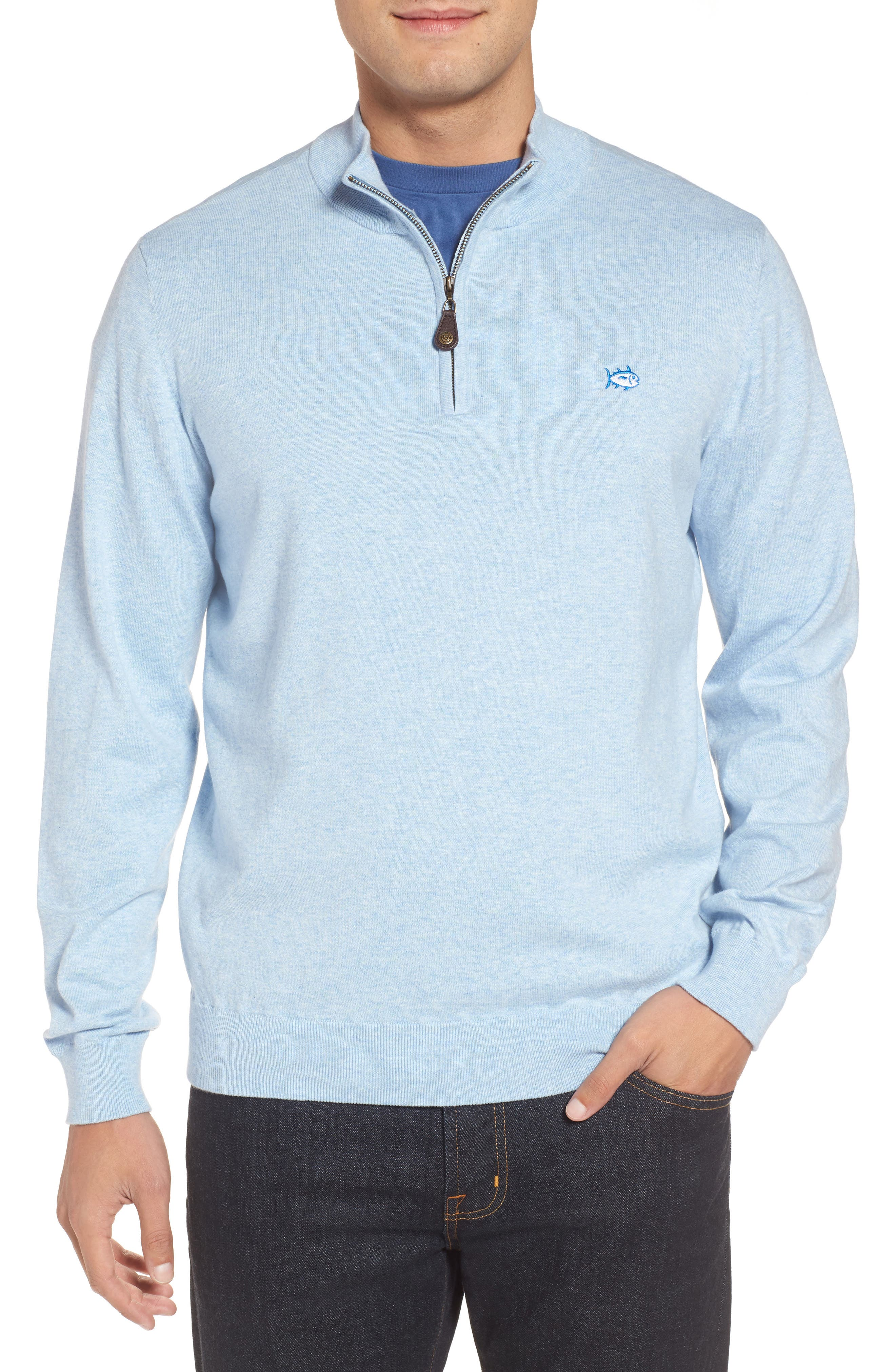 Marina Cay Quarter Zip Pullover,                             Main thumbnail 1, color,                             OCEAN CHANNEL