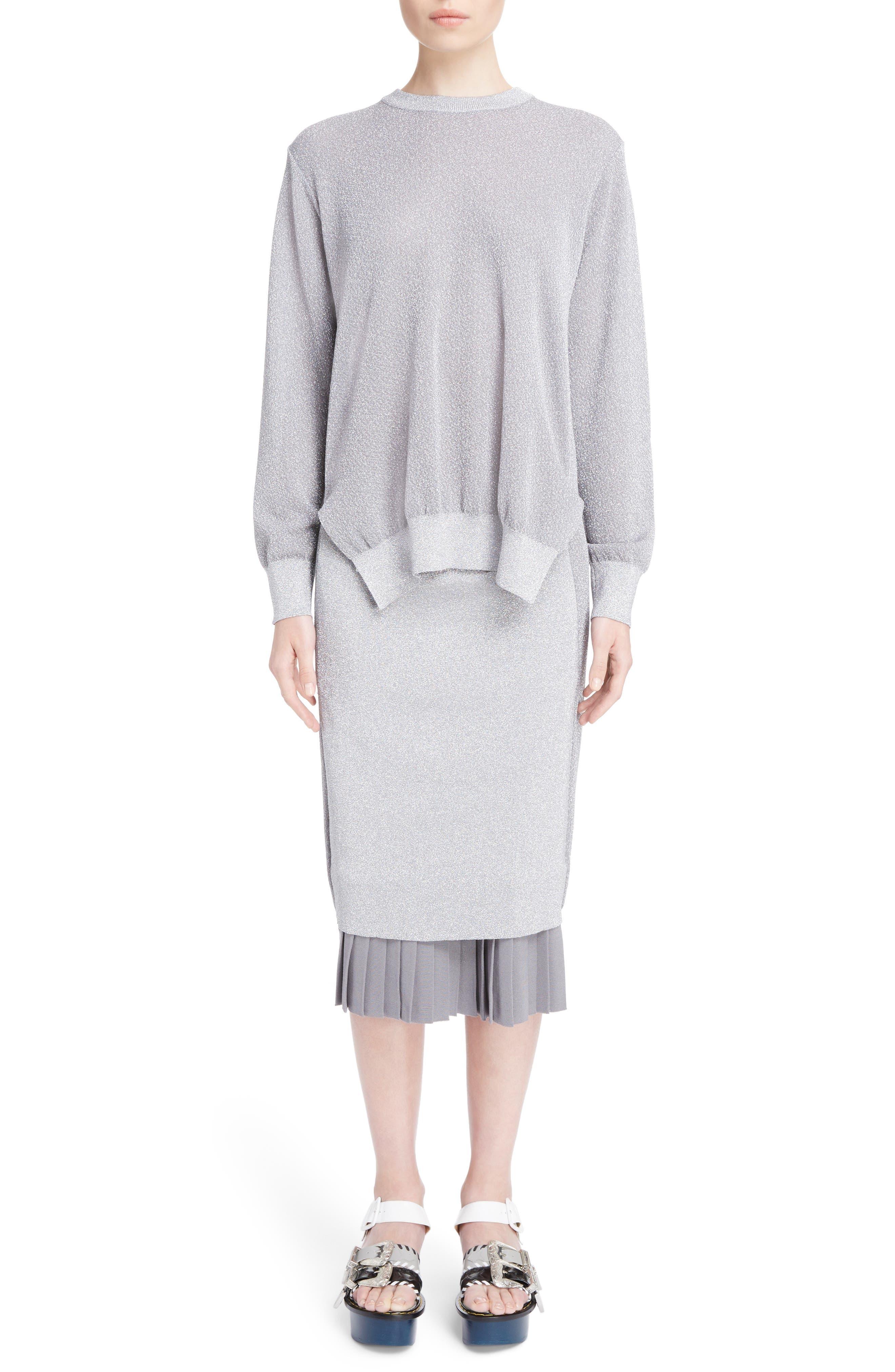 Knit Lamé Dress,                             Main thumbnail 1, color,                             040