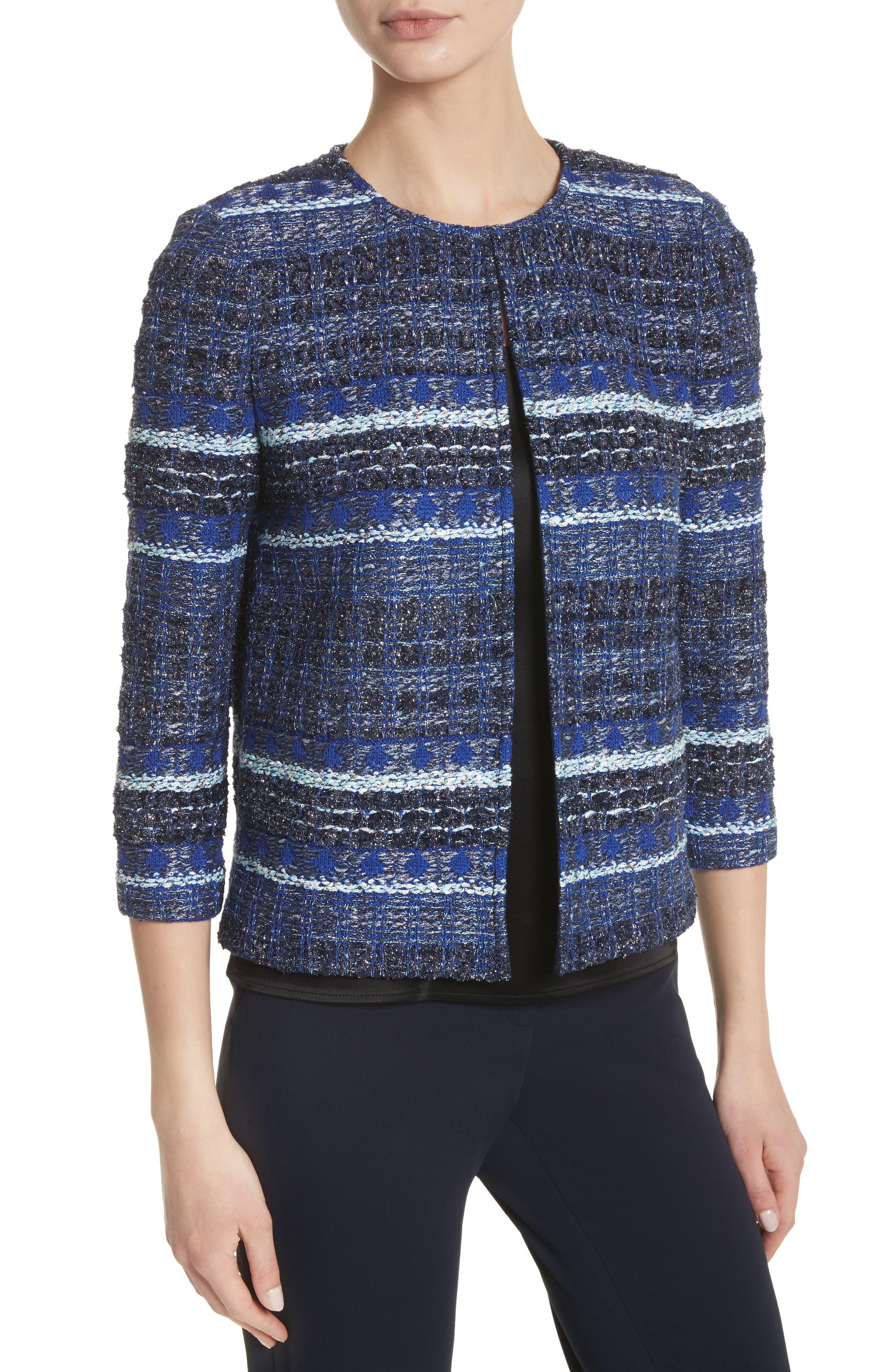 Stripe Tweed Jacket,                             Alternate thumbnail 4, color,                             NAVY MULTI