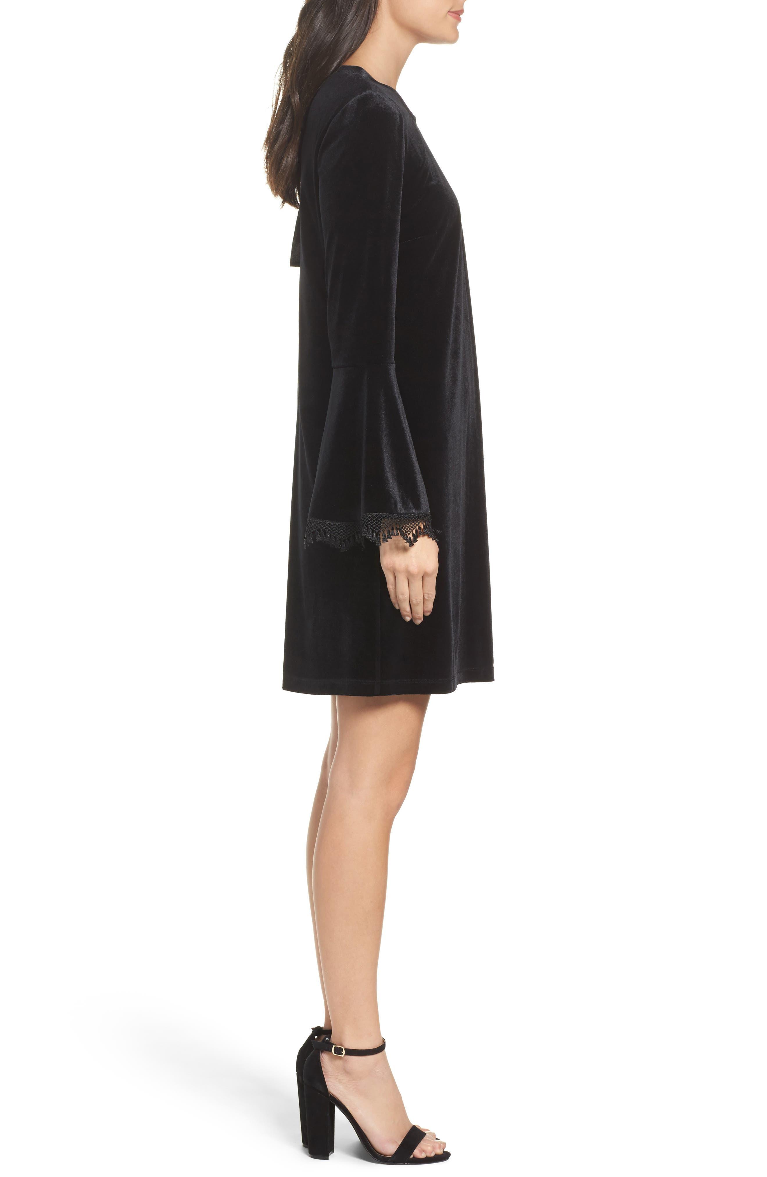 Hallie Bell Sleeve Velvet Dress,                             Alternate thumbnail 3, color,                             001