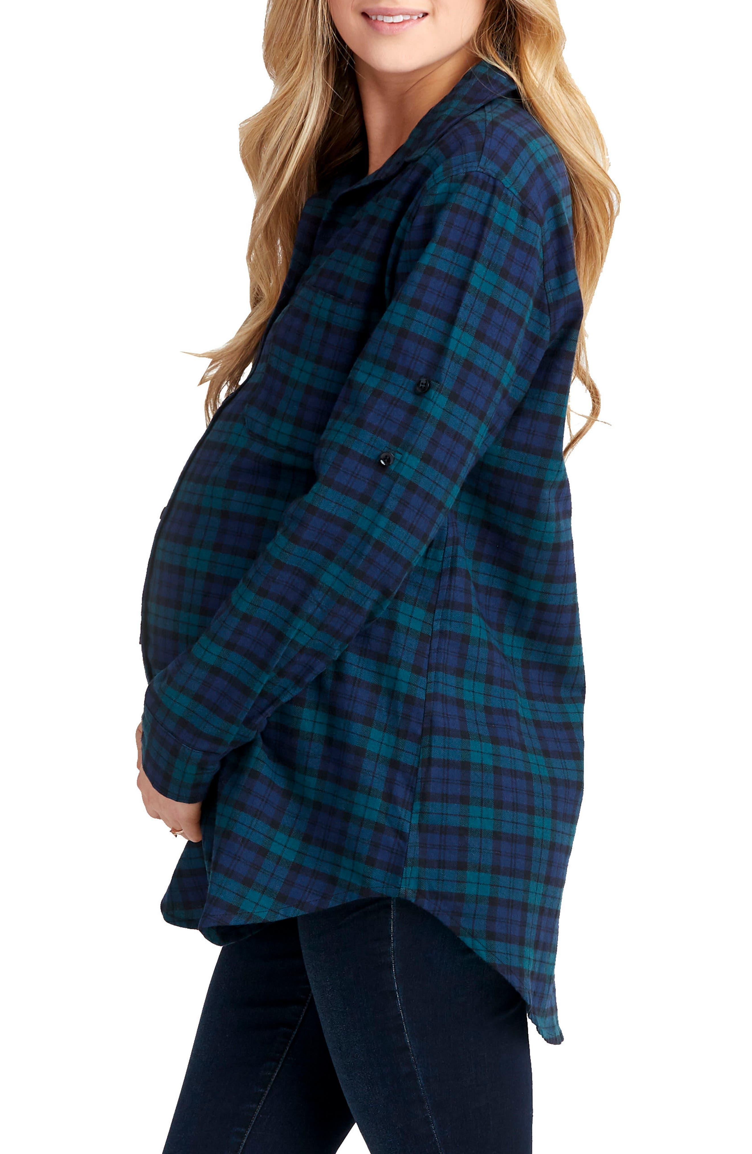 Sadie Maternity/Nursing Shirt,                             Alternate thumbnail 3, color,                             BLUE GREEN PLAID