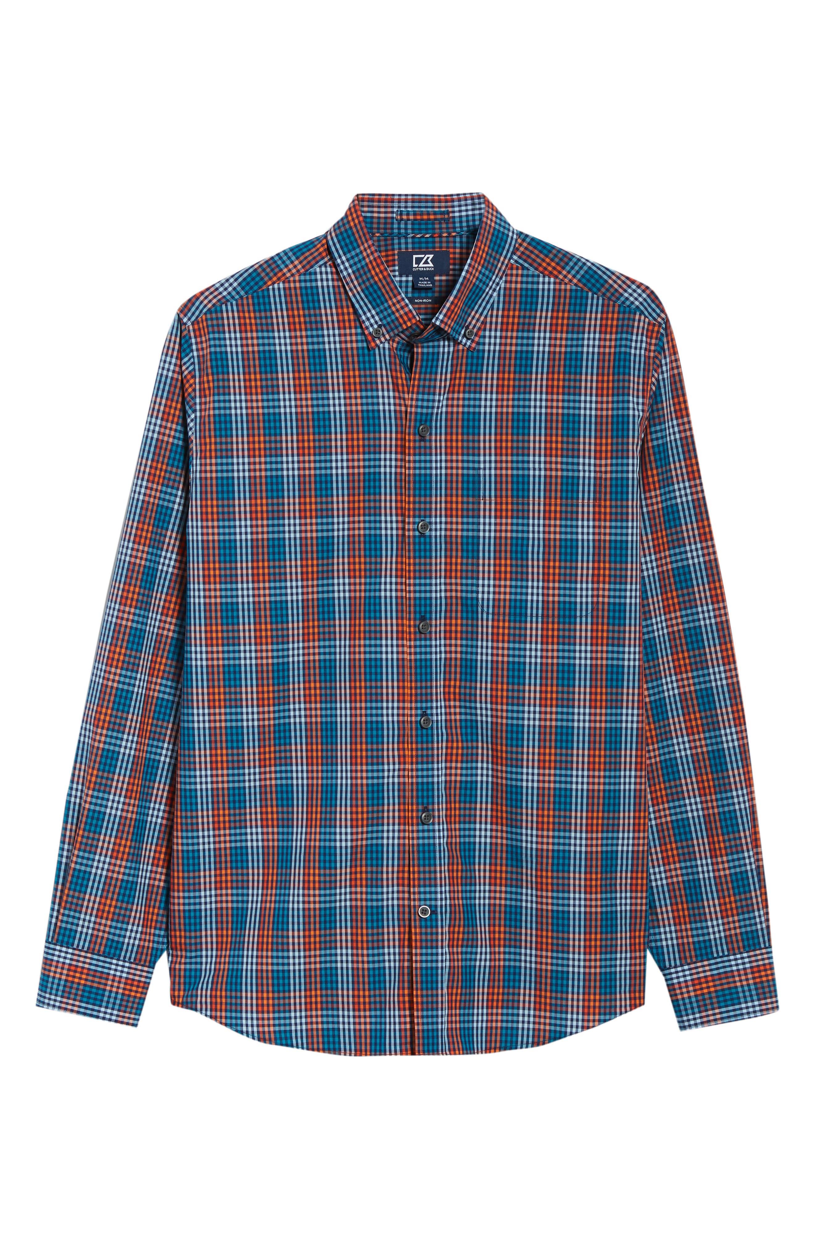 Sutton Regular Fit Non-Iron Check Sport Shirt,                             Alternate thumbnail 5, color,                             ALARM