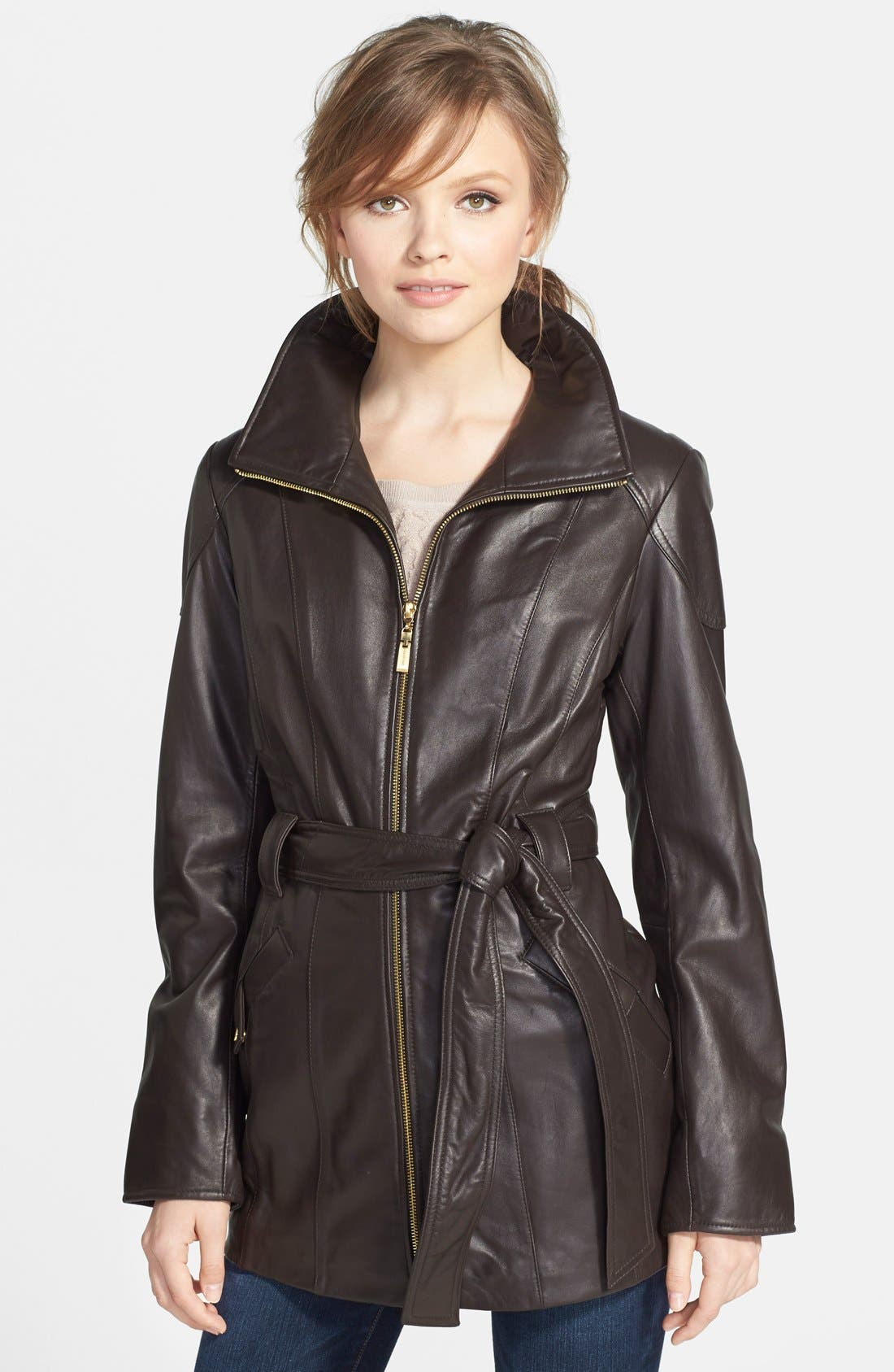 Leather Trench Jacket,                             Main thumbnail 2, color,