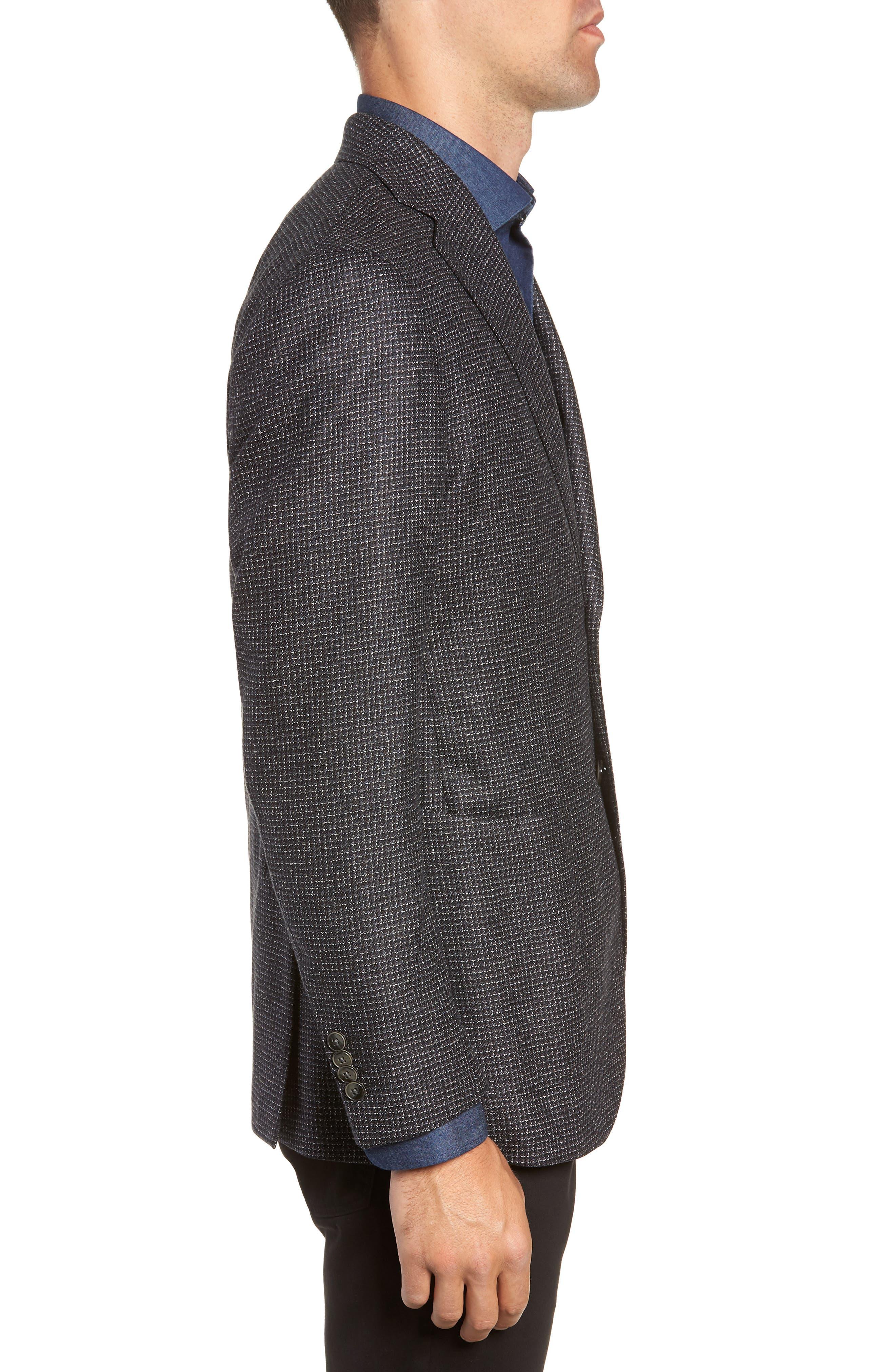 L.B.M 1911 Classic Fit Silk & Wool Sport Coat,                             Alternate thumbnail 3, color,                             BLACK