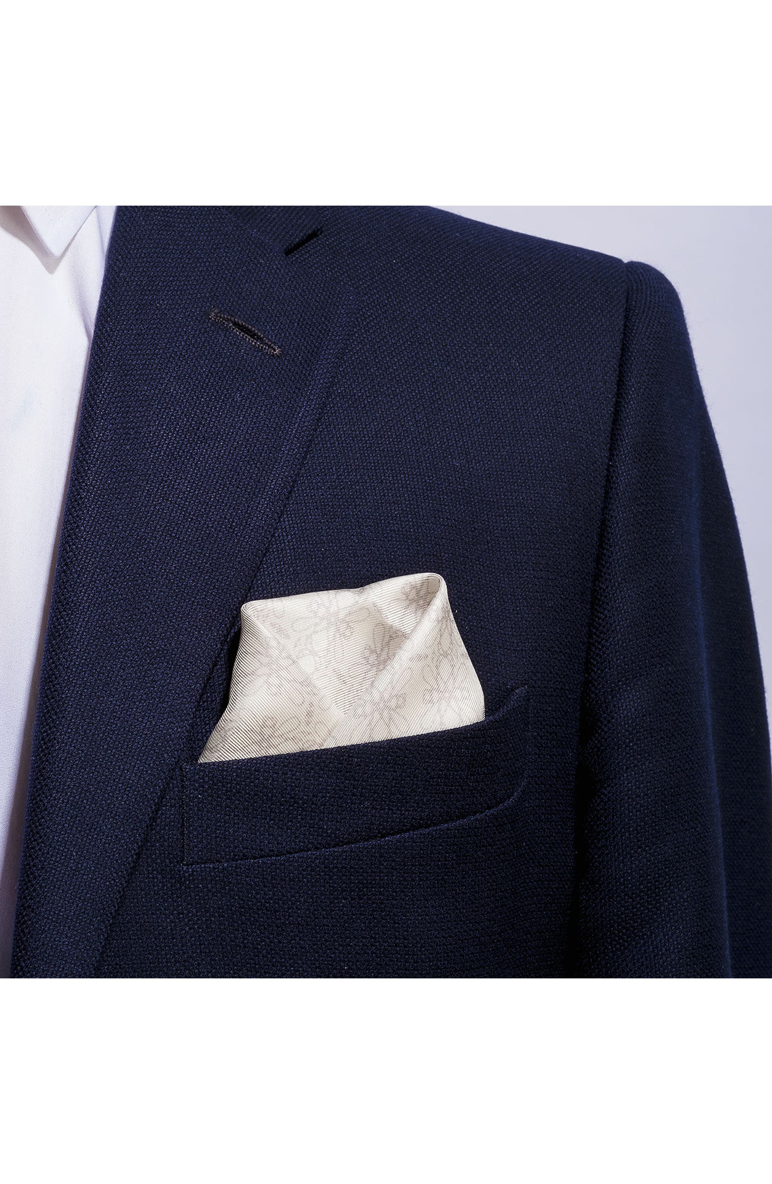 Filigreed Silk Pocket Square,                             Alternate thumbnail 3, color,                             110