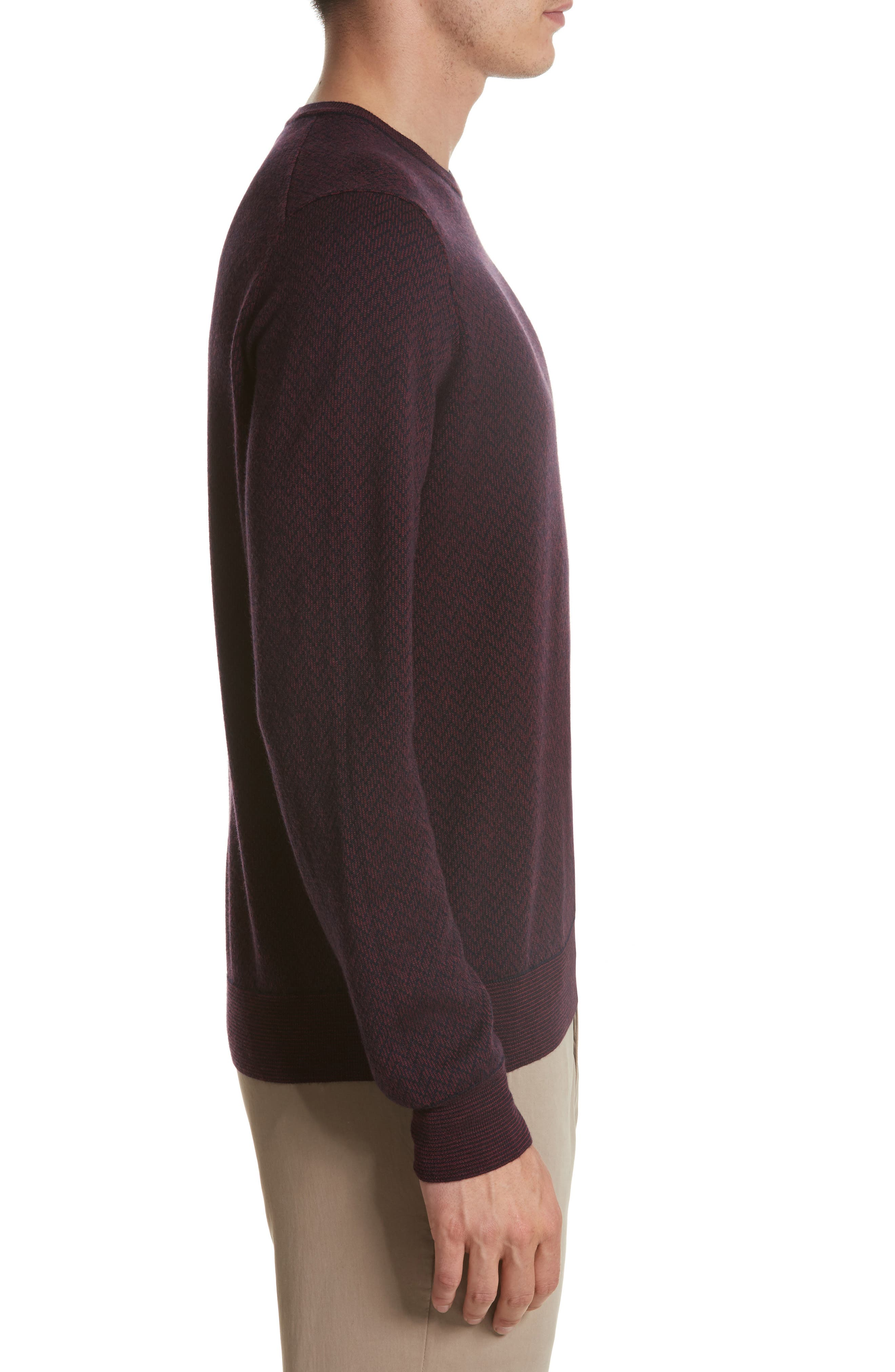 Regular Fit Two-Tone Wool Sweater,                             Alternate thumbnail 3, color,                             601