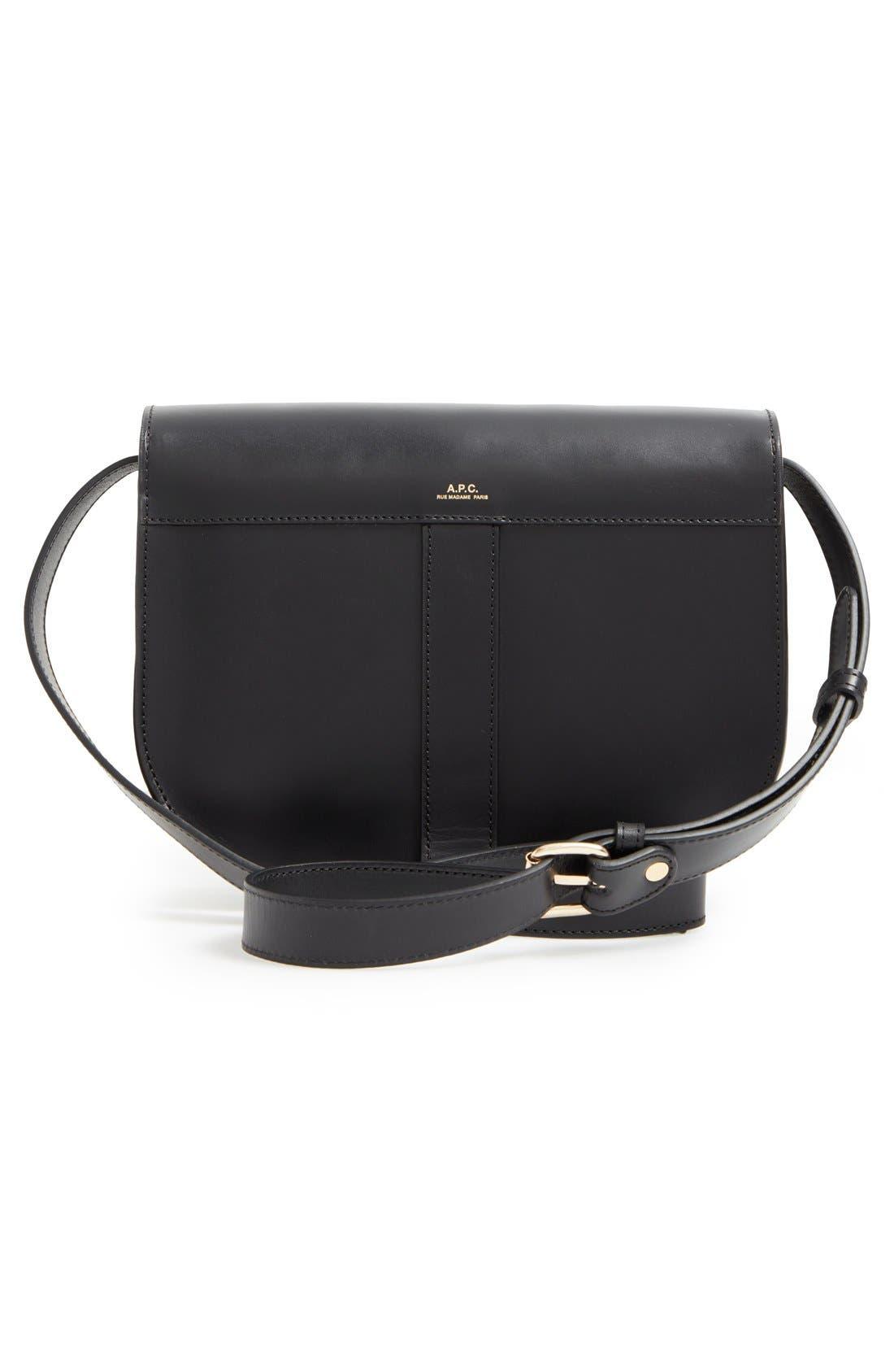 'Sac June' Leather Shoulder Bag,                             Alternate thumbnail 2, color,                             001