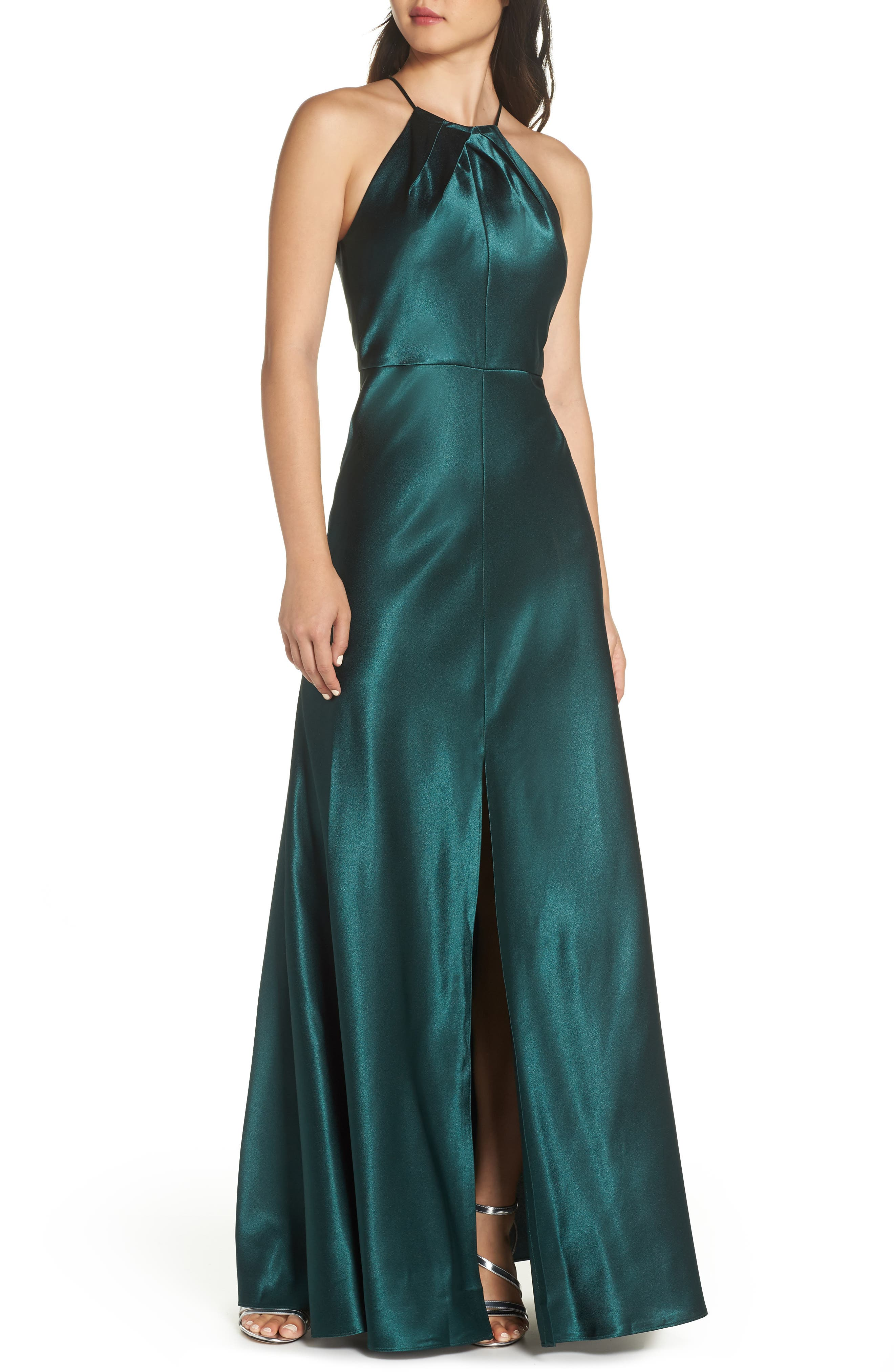 Cameron Halter Neck Satin Back Gown in Emerald