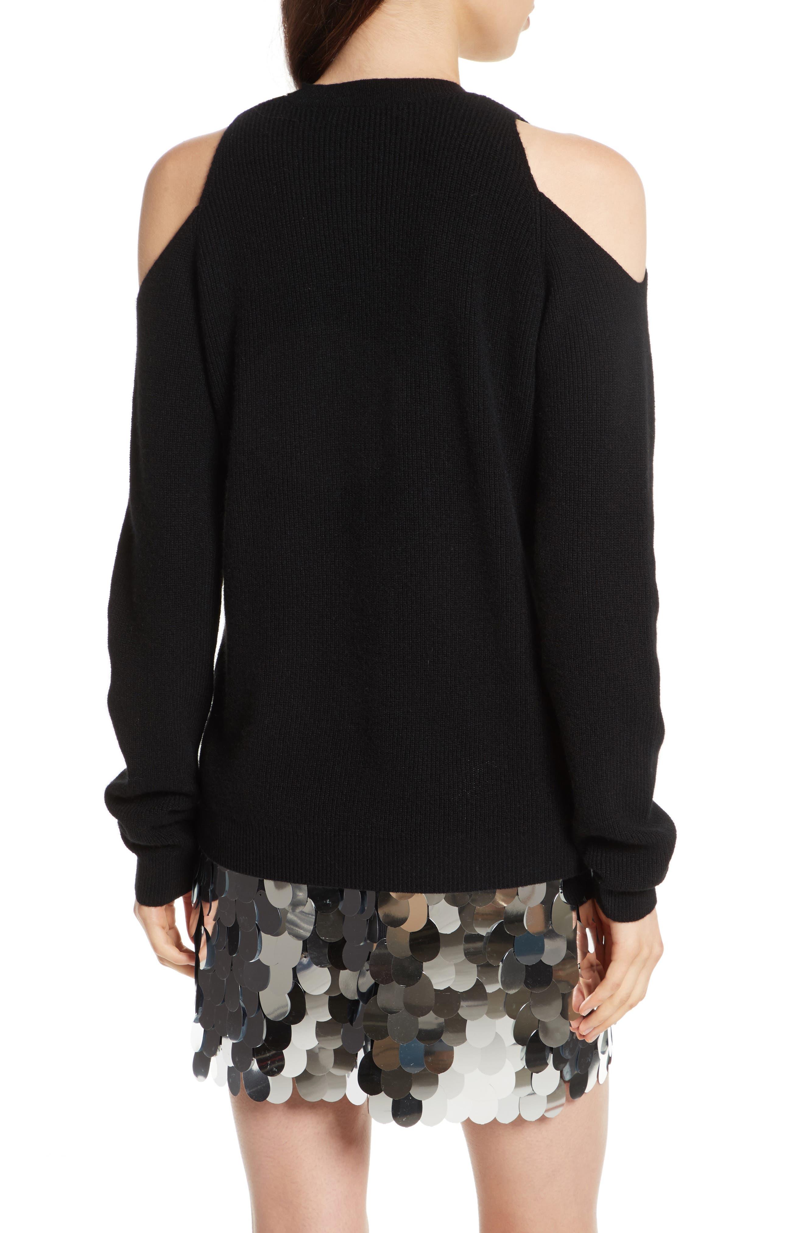Cold Shoulder Cashmere Pullover,                             Alternate thumbnail 3, color,