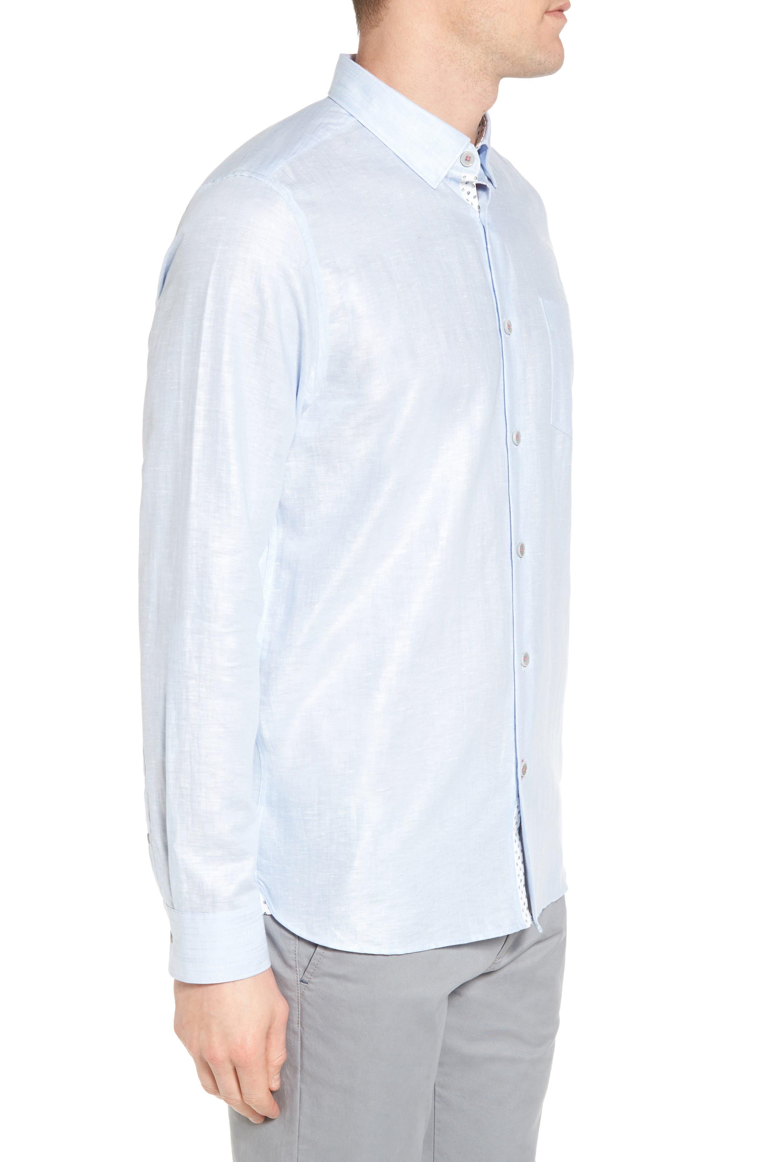 Linlins Herringbone Cotton & Linen Sport Shirt,                             Alternate thumbnail 13, color,