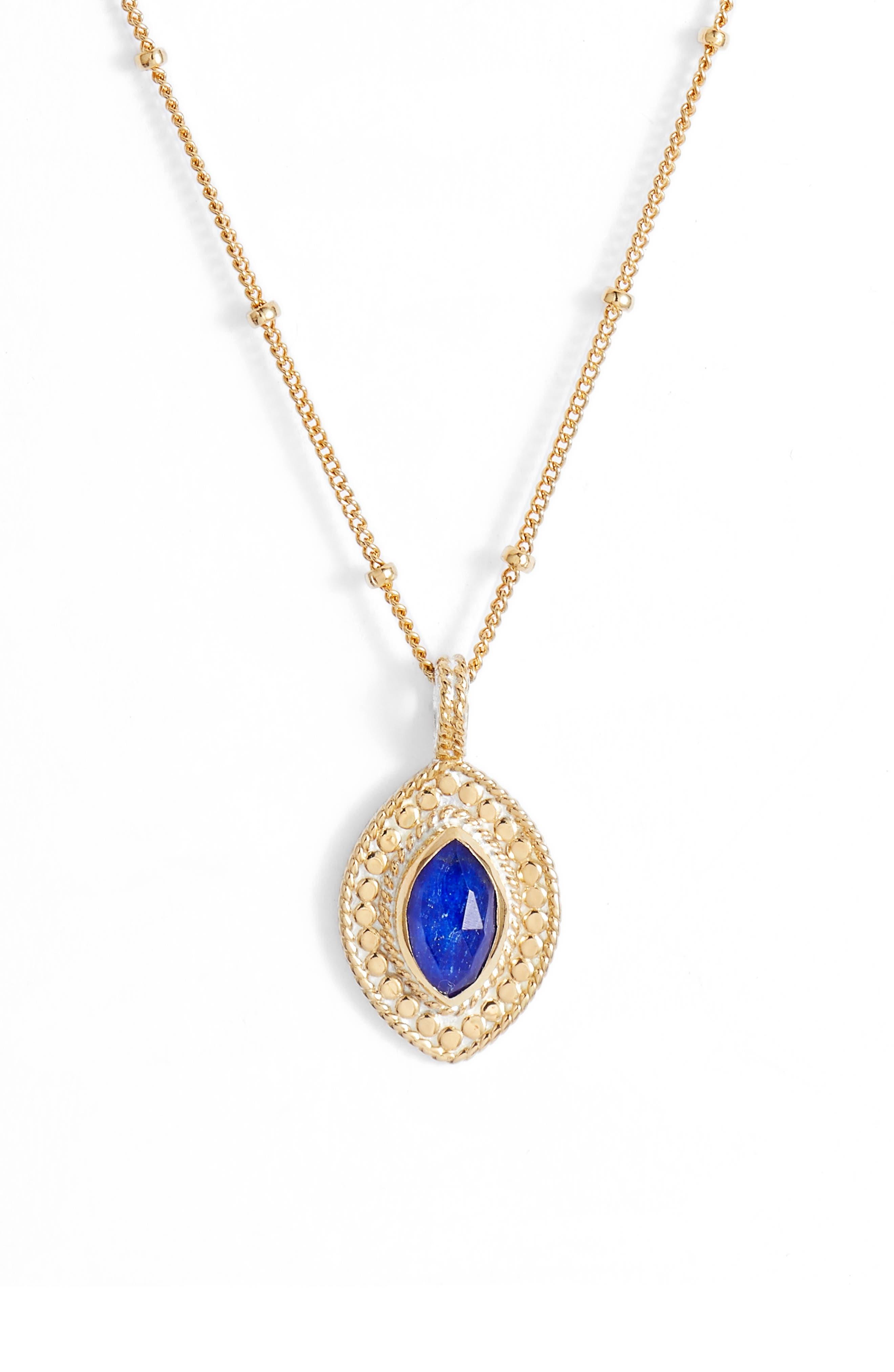 Lapis Marquise Pendant Necklace,                             Main thumbnail 1, color,                             711