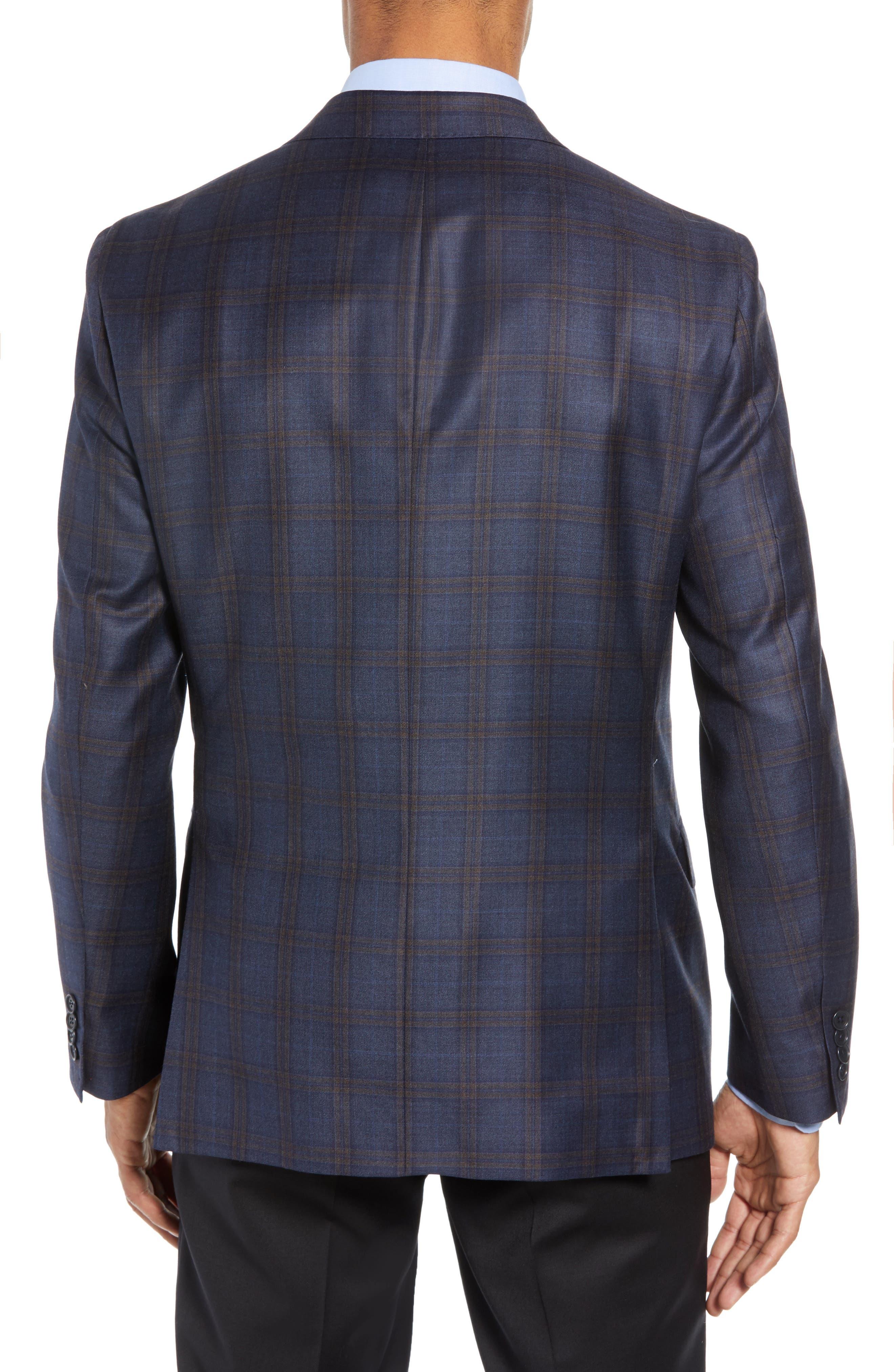 Classic Fit Plaid Wool Sport Coat,                             Alternate thumbnail 2, color,                             BLUE/ BROWN