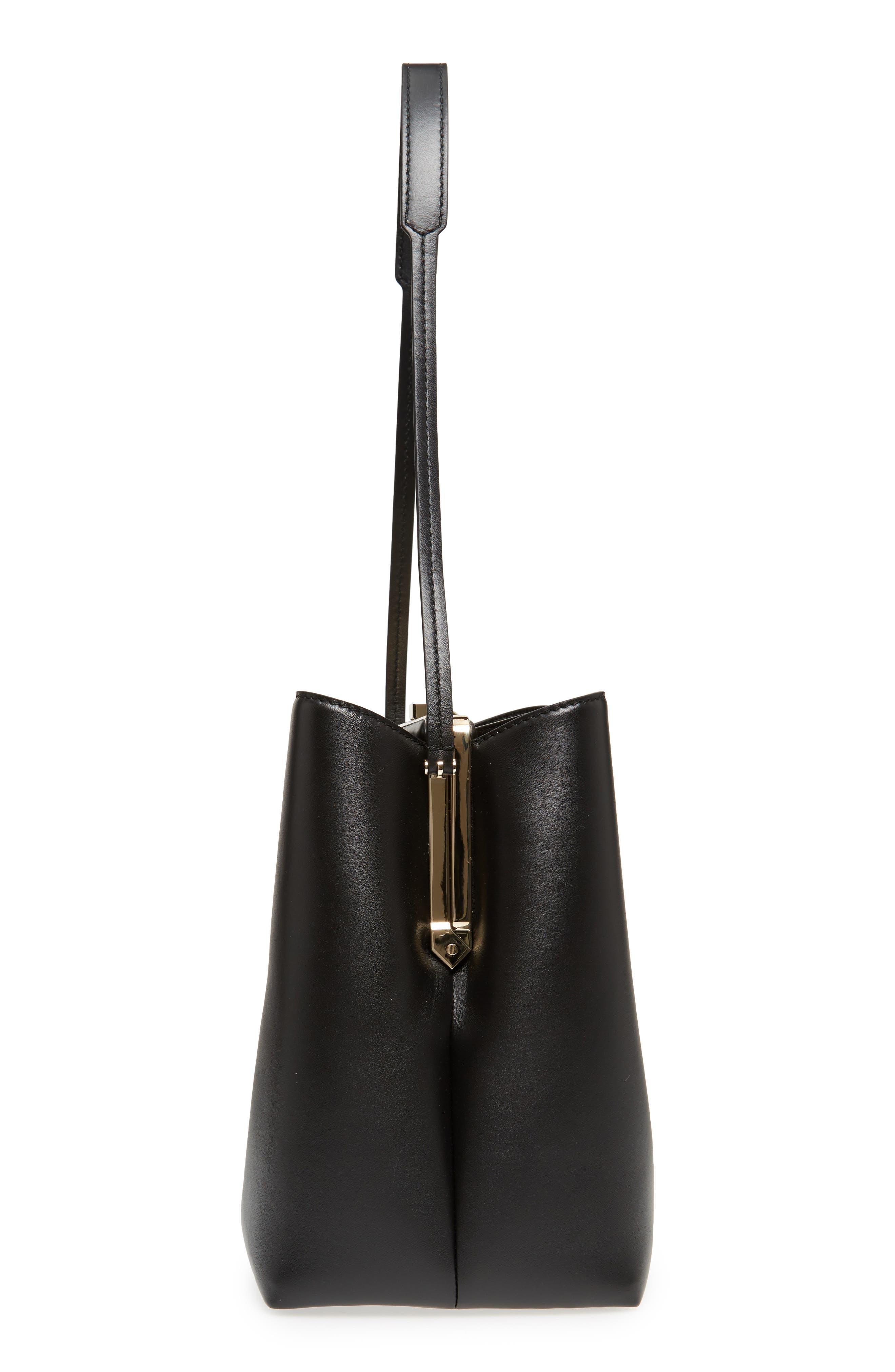 Frame Leather Shoulder Bag,                             Alternate thumbnail 5, color,                             BLACK/ BLACK