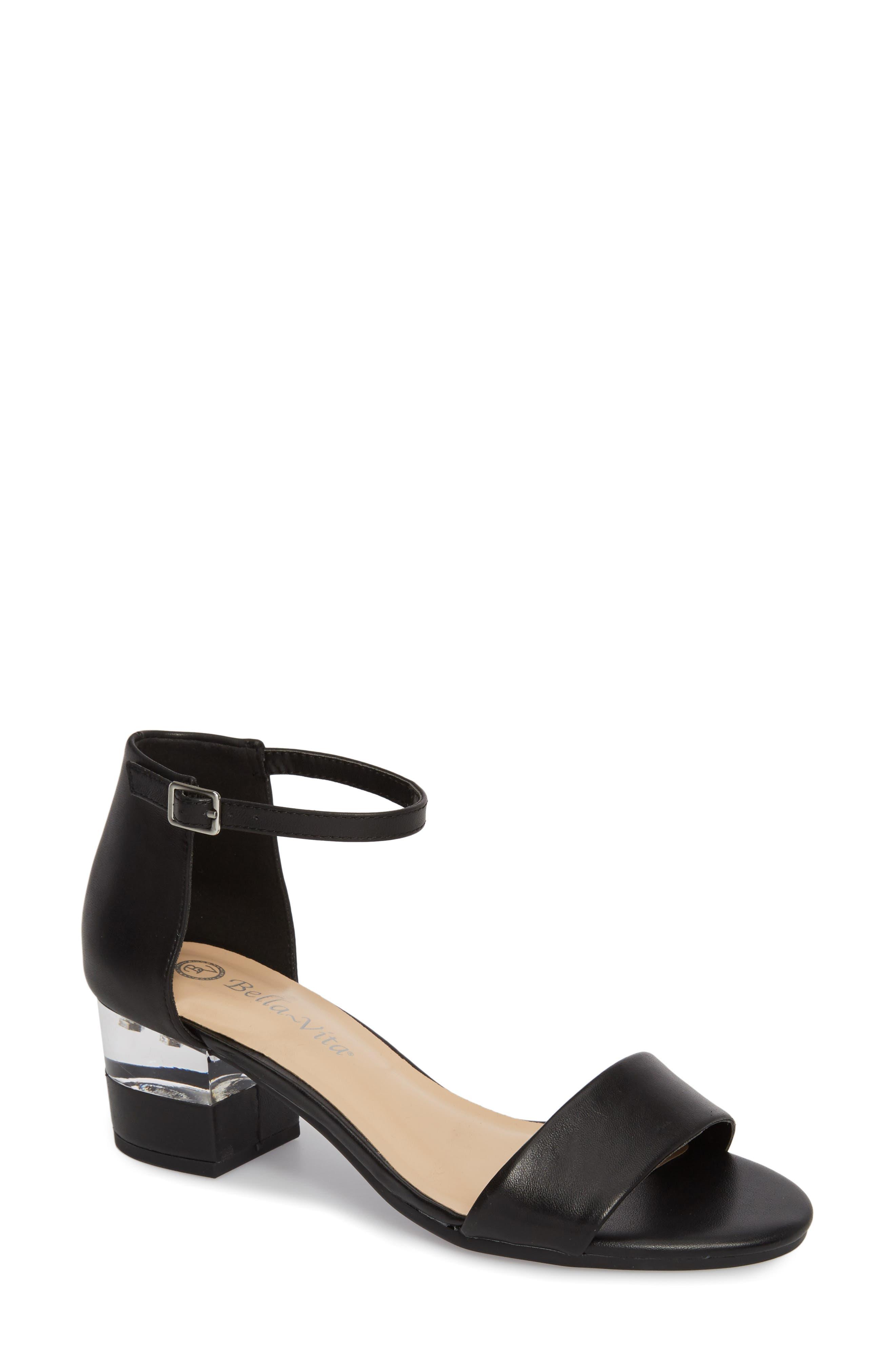 Fitz Block Heel Sandal,                             Main thumbnail 1, color,                             BLACK LEATHER