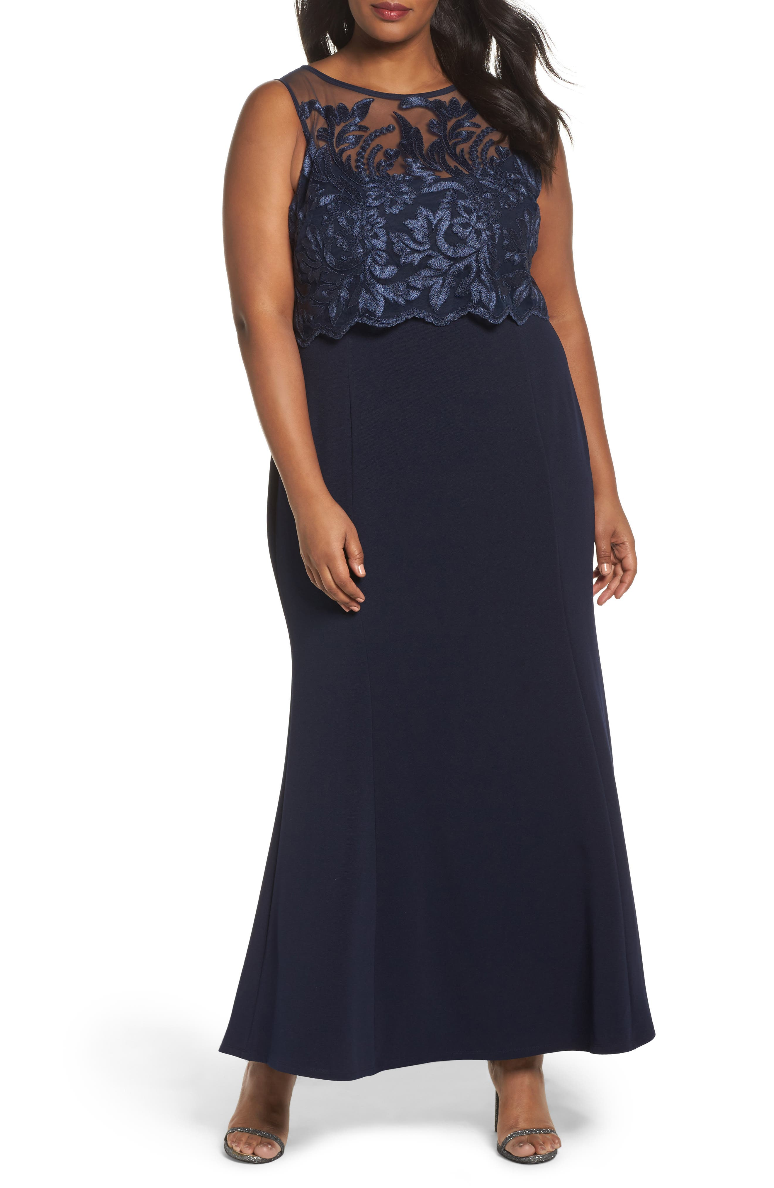 Popover Lace Gown,                             Main thumbnail 1, color,                             410