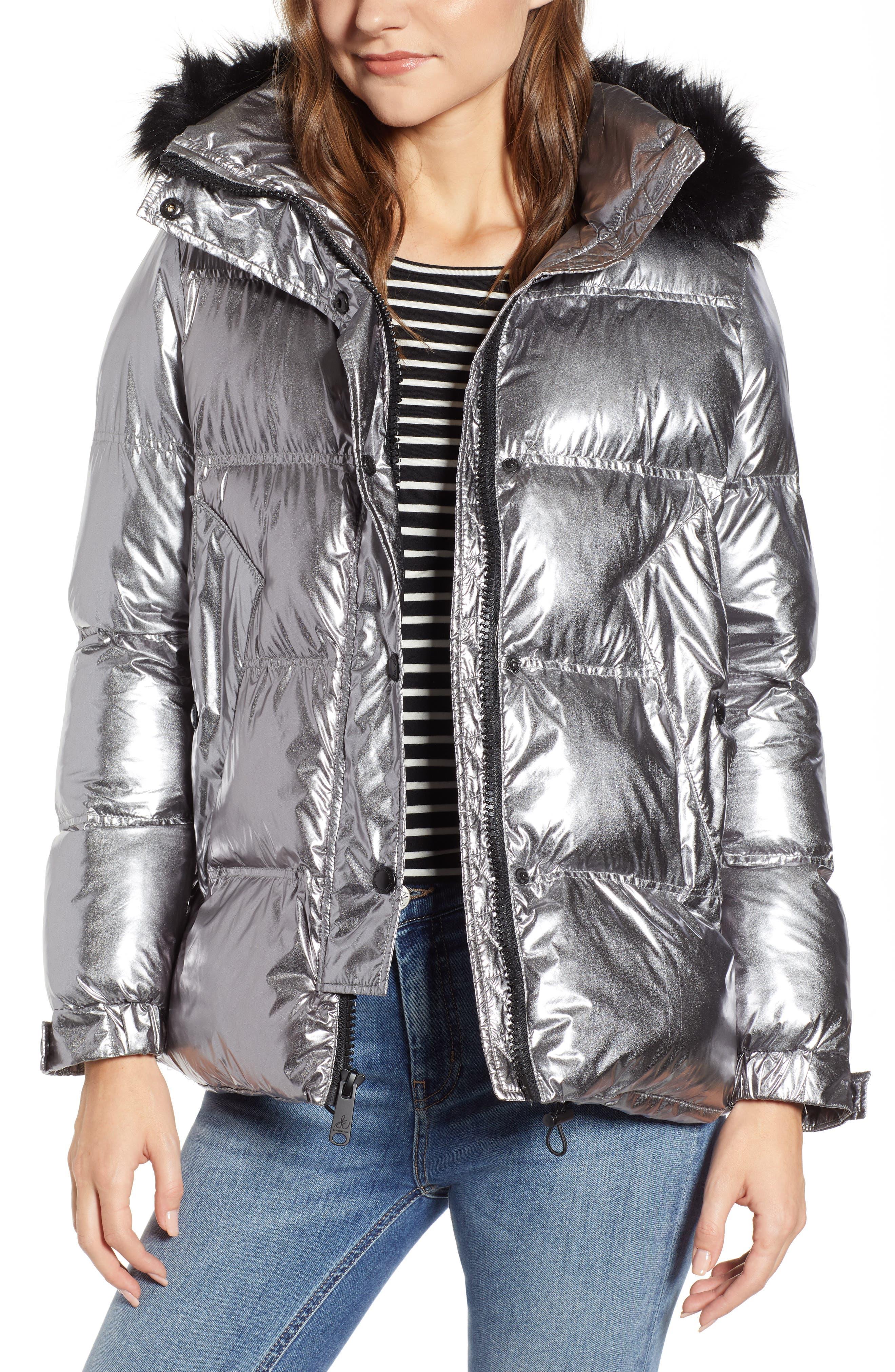 Faux Fur Trim Hooded Puffer Coat,                         Main,                         color, GUNMETAL