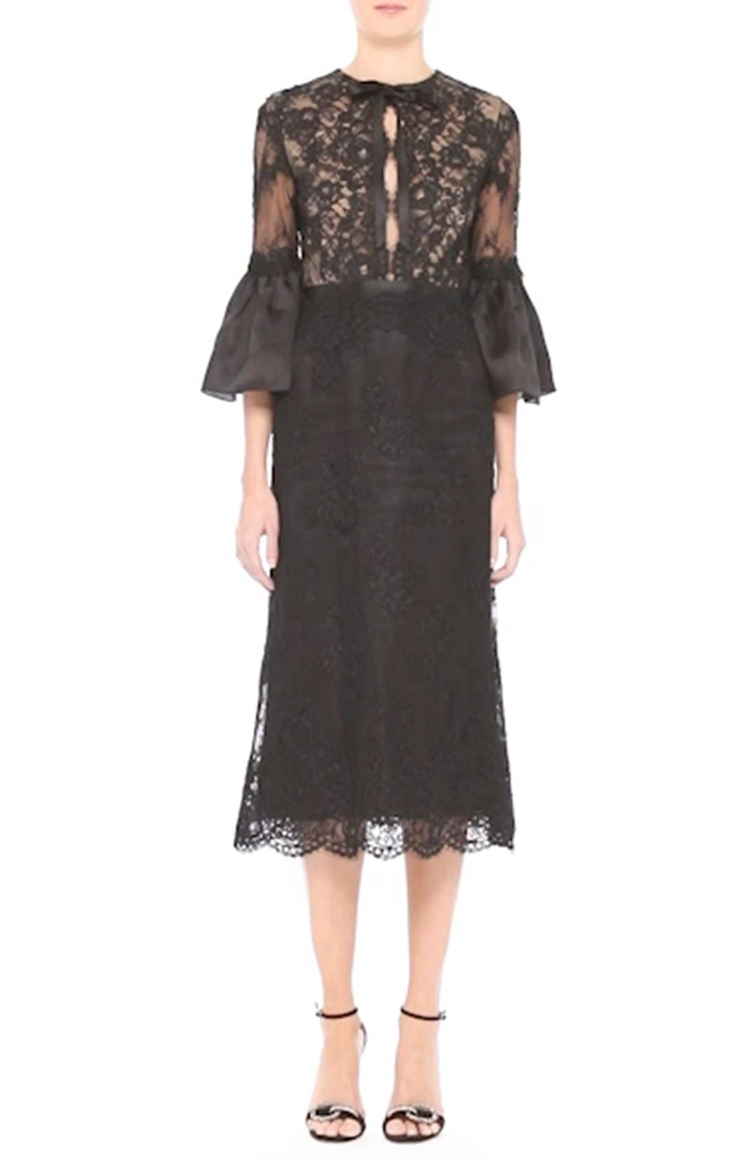 Bell Sleeve Lace Midi Dress,                             Alternate thumbnail 7, color,                             001