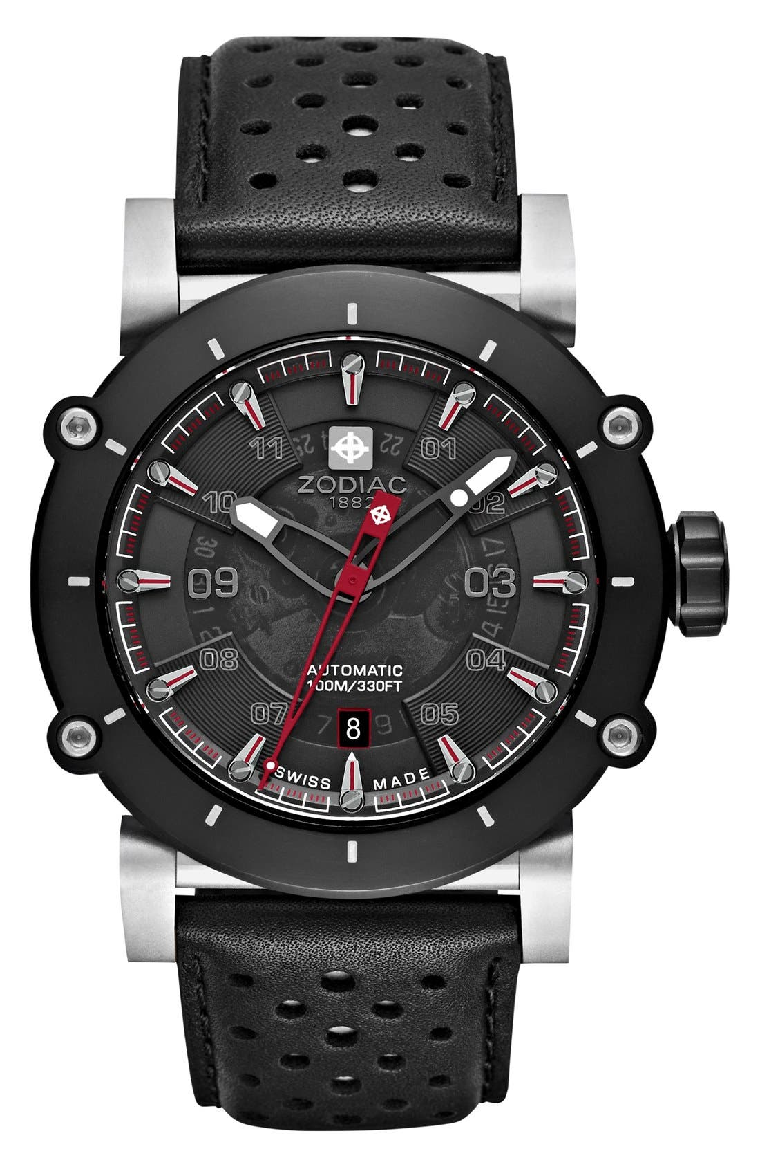 'ZMX-02 Racer' Perforated Leather Strap Watch, 44mm, Main, color, 001
