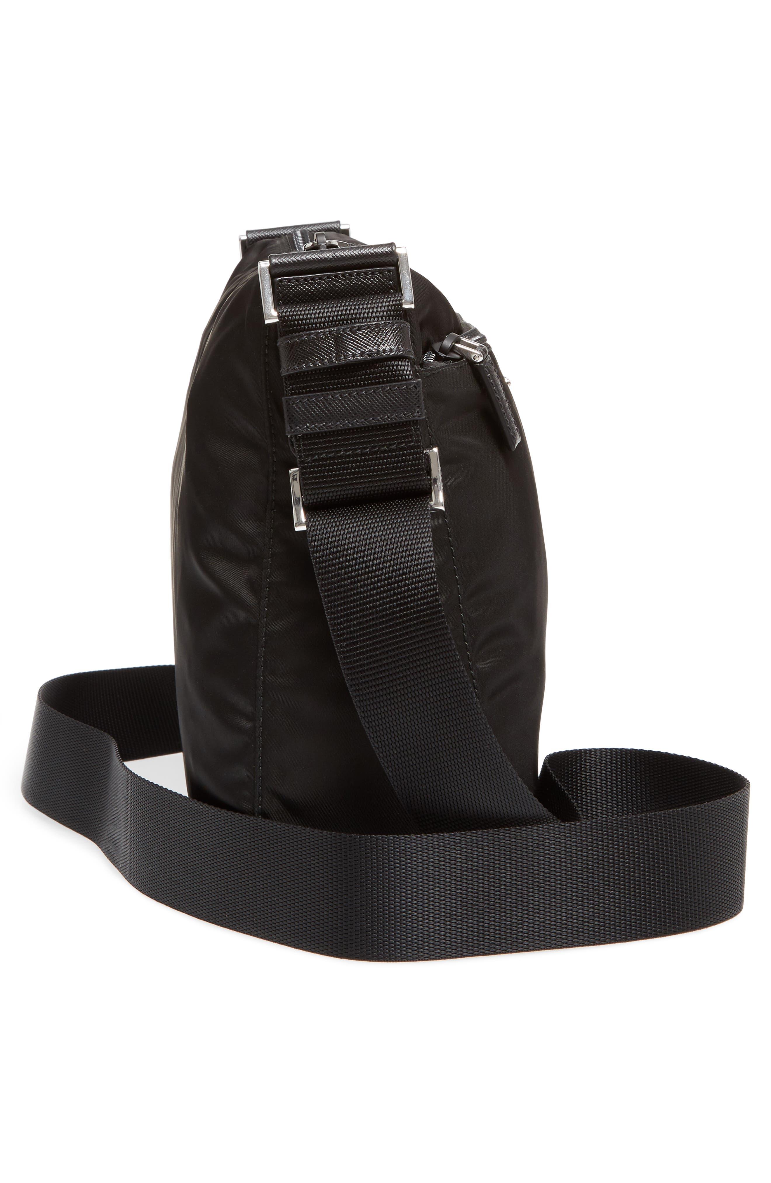 Large Nylon Crossbody Bag,                             Alternate thumbnail 5, color,                             NERO