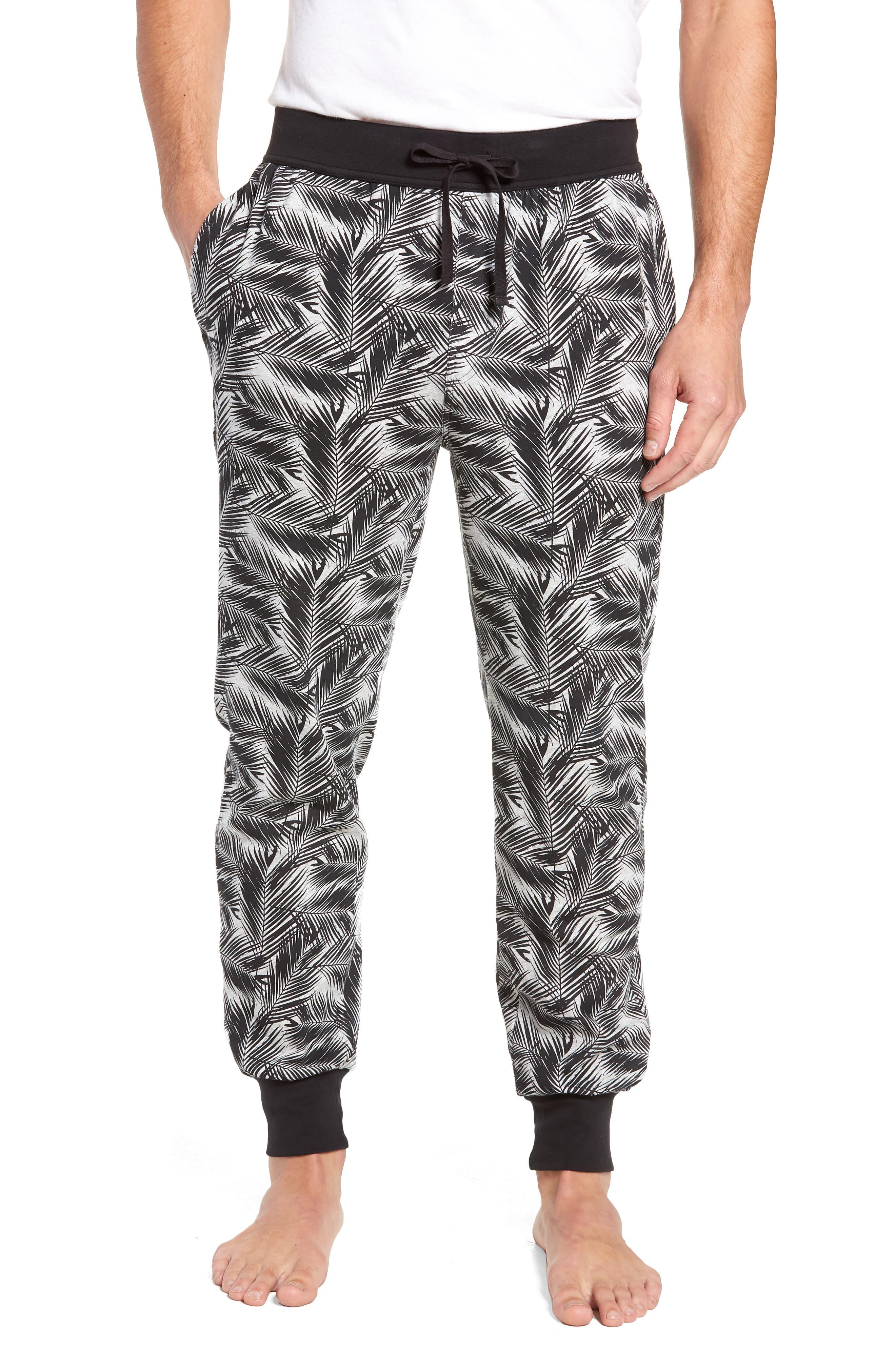 Print Stretch Cotton Jogger Pants,                         Main,                         color, BLACK- GREY PALM FRONDS