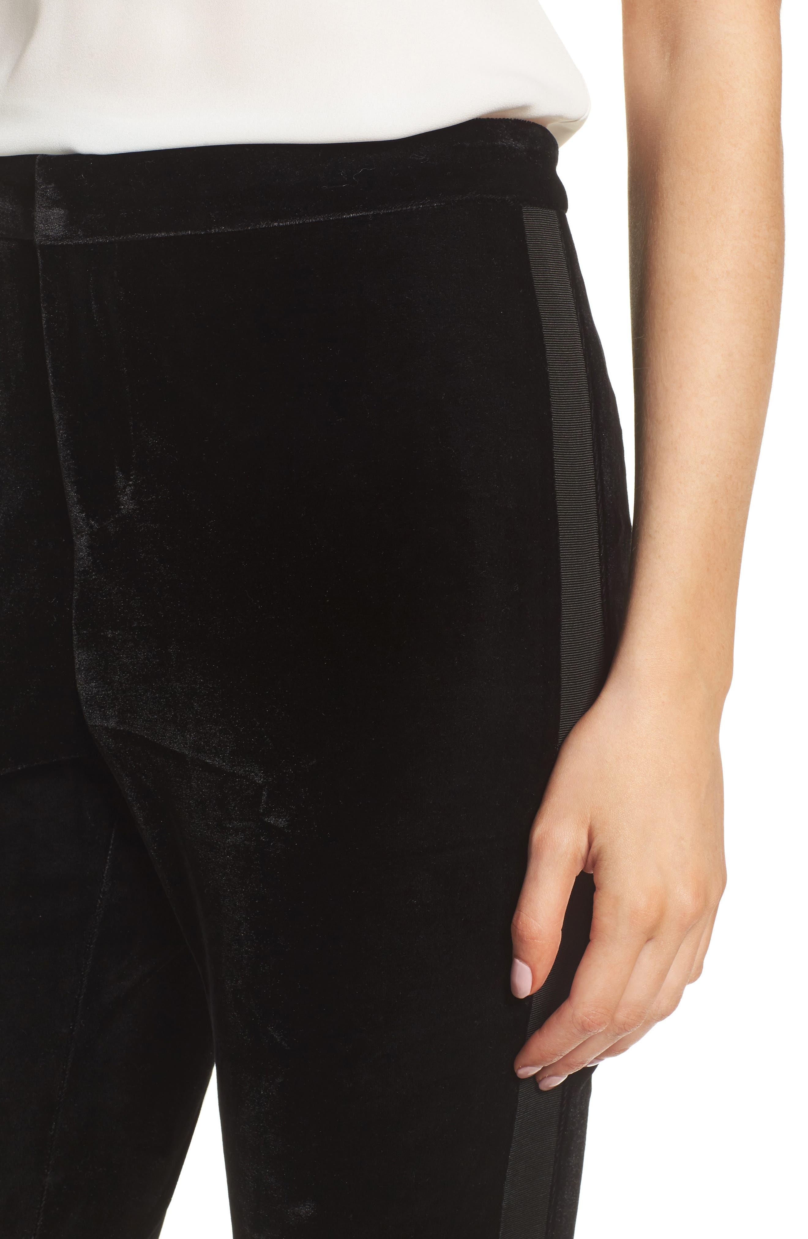 Evalina Velvet Crop Skinny Pants,                             Alternate thumbnail 4, color,                             001