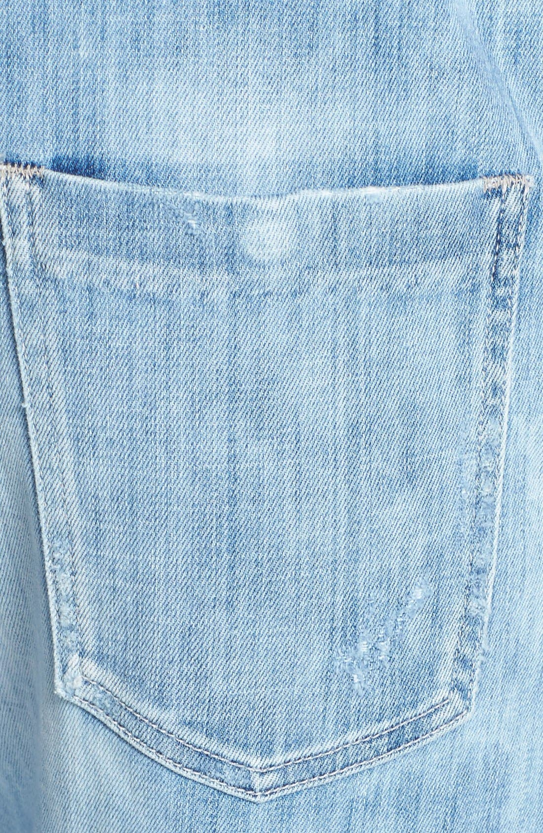 'Quincey' Distressed Denim Overalls,                             Alternate thumbnail 4, color,                             400