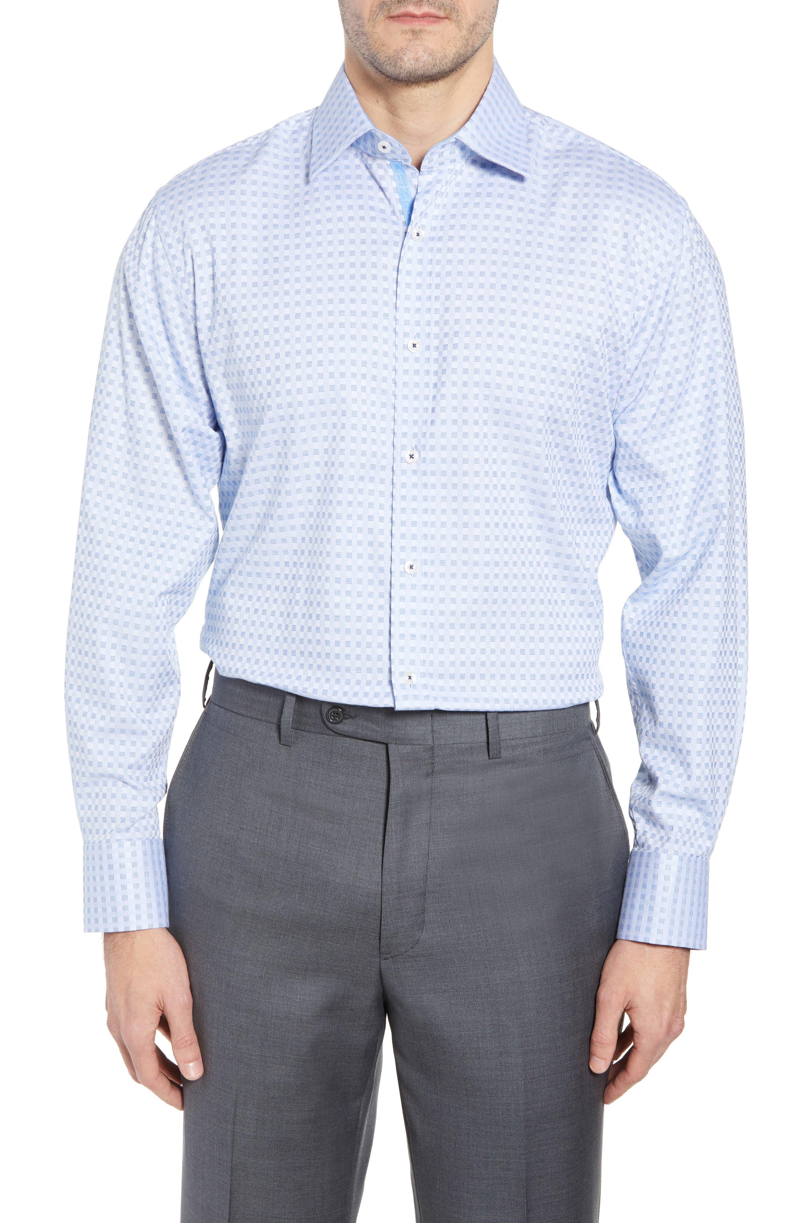 Check Regular Fit Dress Shirt,                         Main,                         color, BLUE