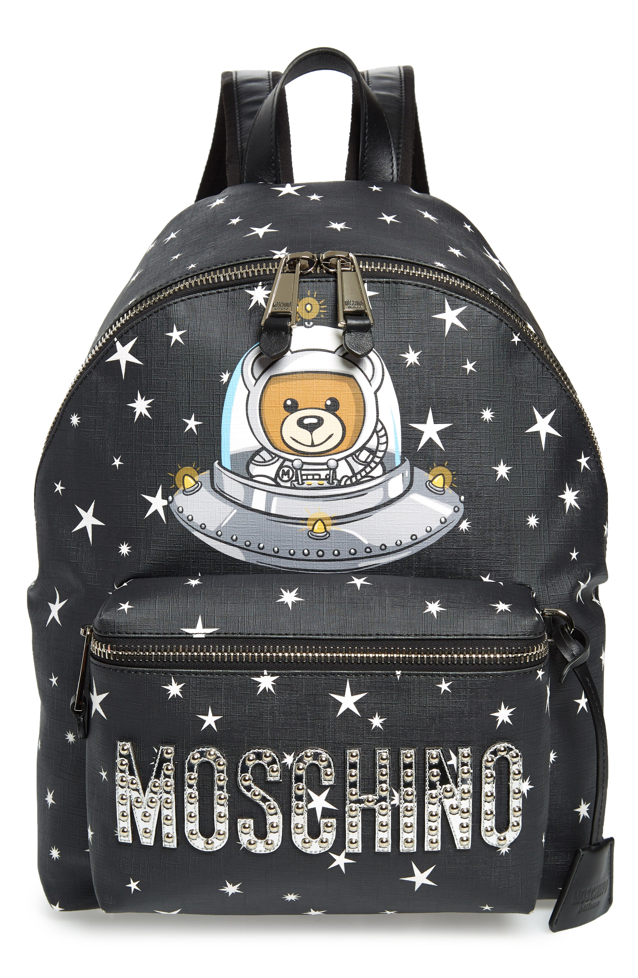 UFO Teddy Bear Faux Leather Backpack,                             Main thumbnail 1, color,                             001