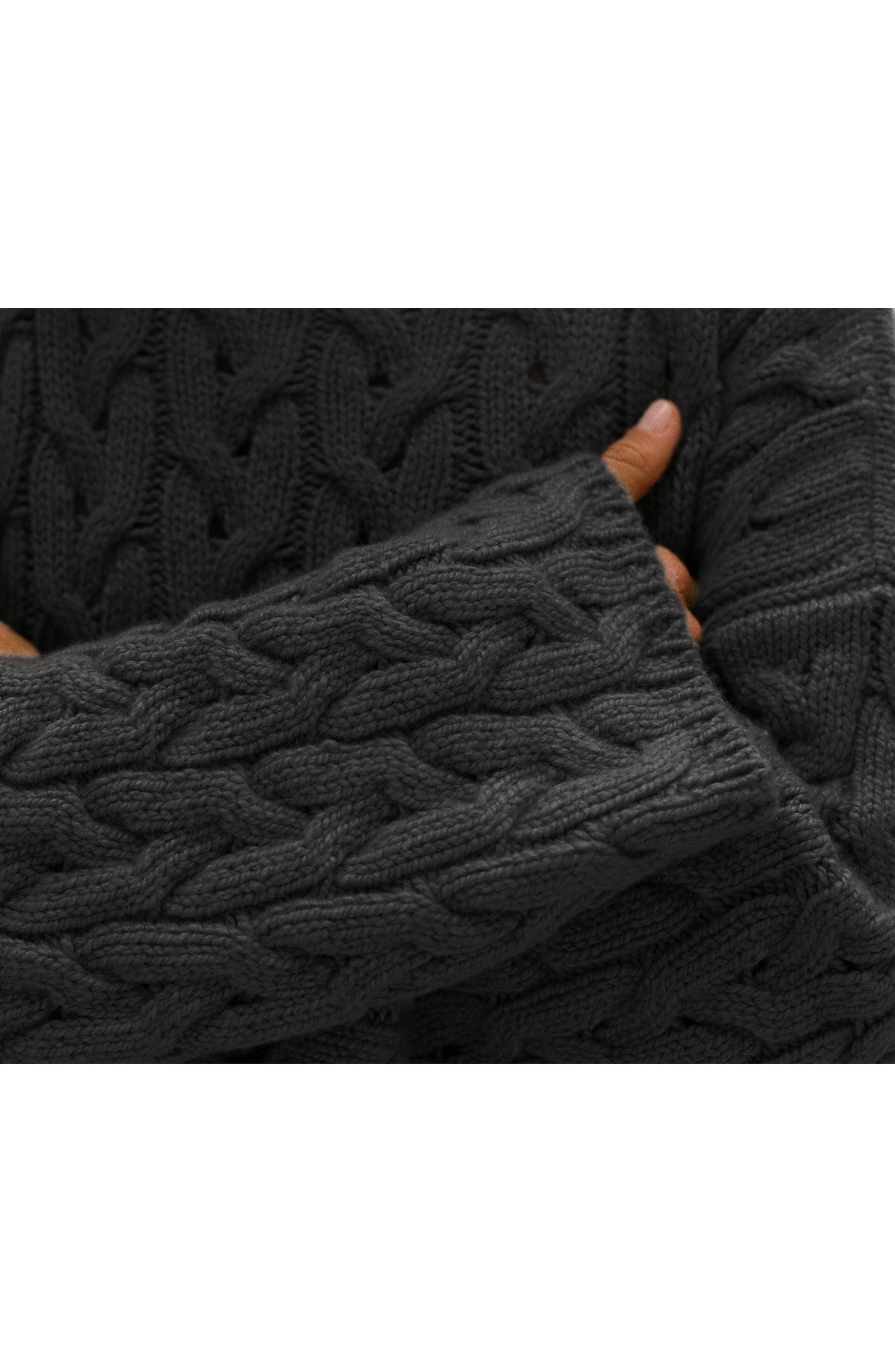 Oversized Braided Cashmere Sweater,                             Alternate thumbnail 8, color,                             DARK GREY