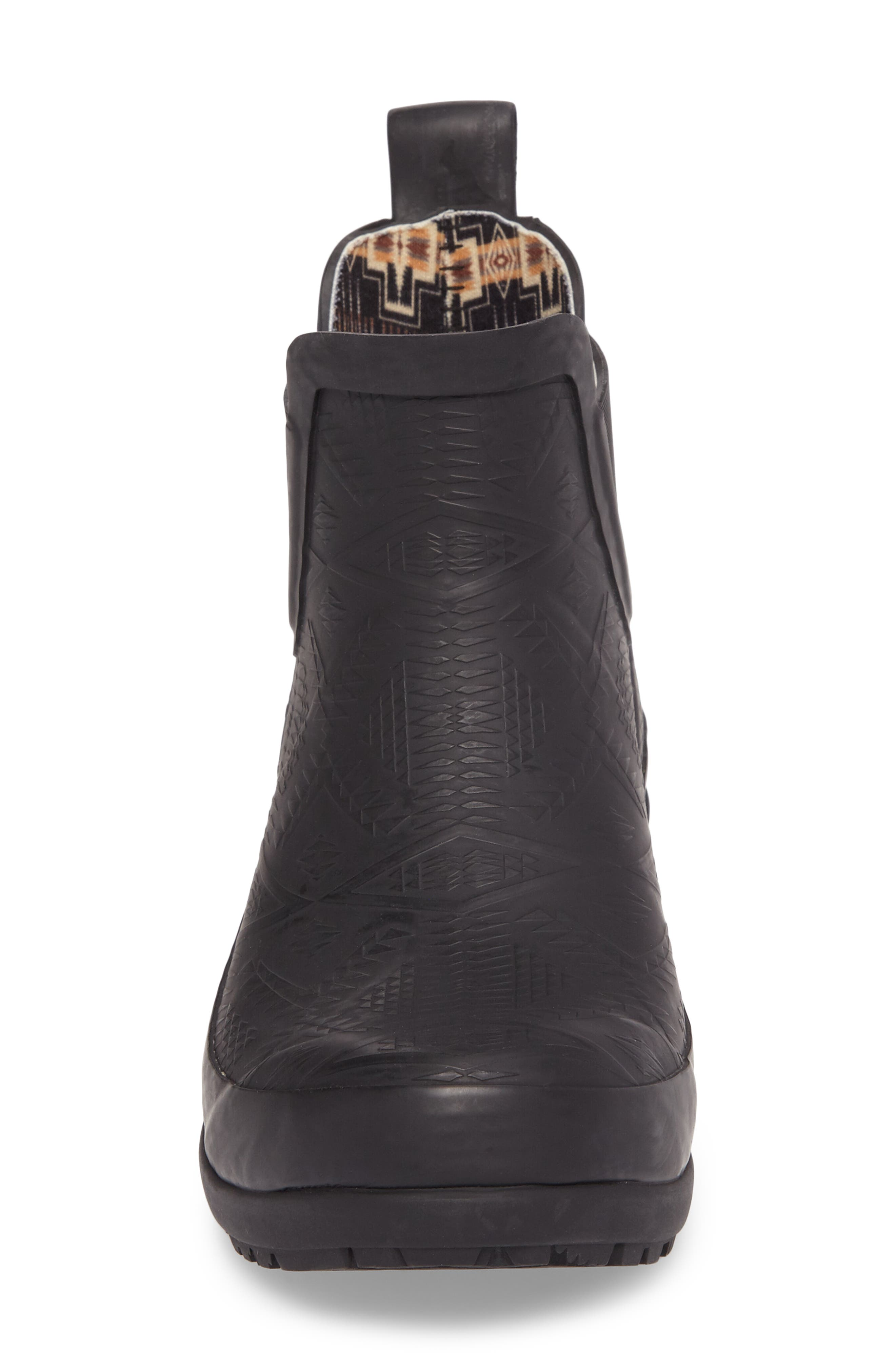 Pendleton Embossed Chelsea Rain Boot,                             Alternate thumbnail 4, color,                             BLACK