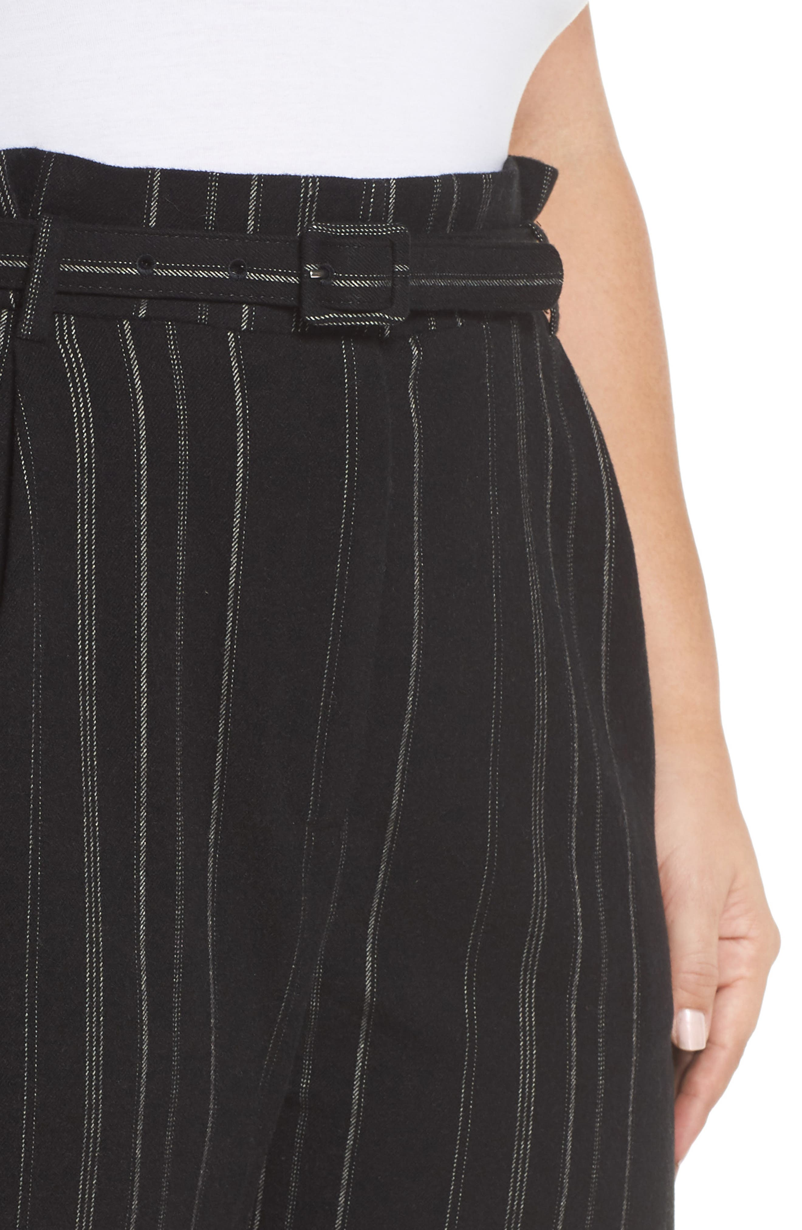 High Rise Belted Paperbag Pants,                             Alternate thumbnail 11, color,                             BLACK MIXED STRIPE