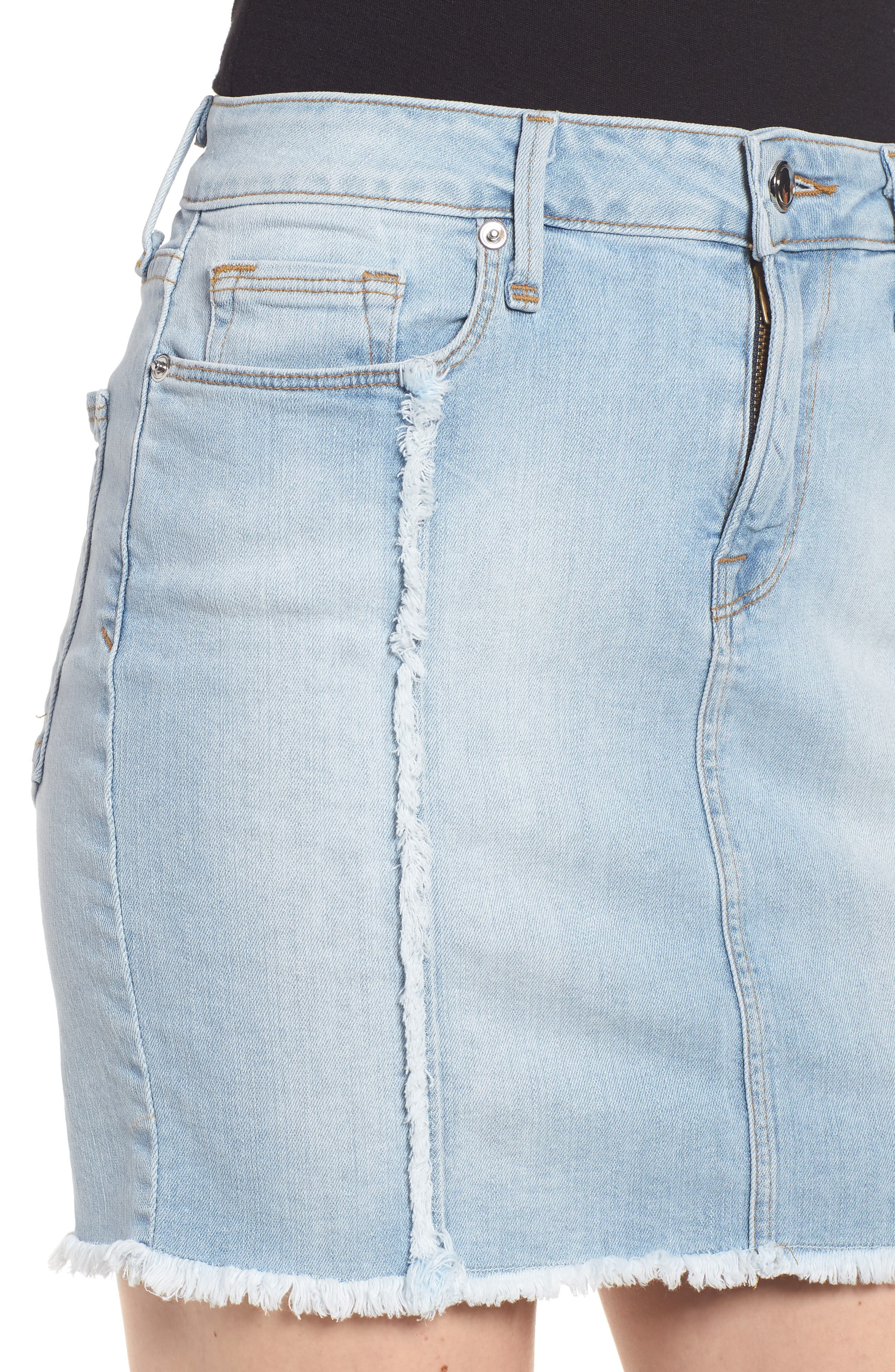 The Mini Distressed Seams Denim Miniskirt,                             Alternate thumbnail 4, color,                             401