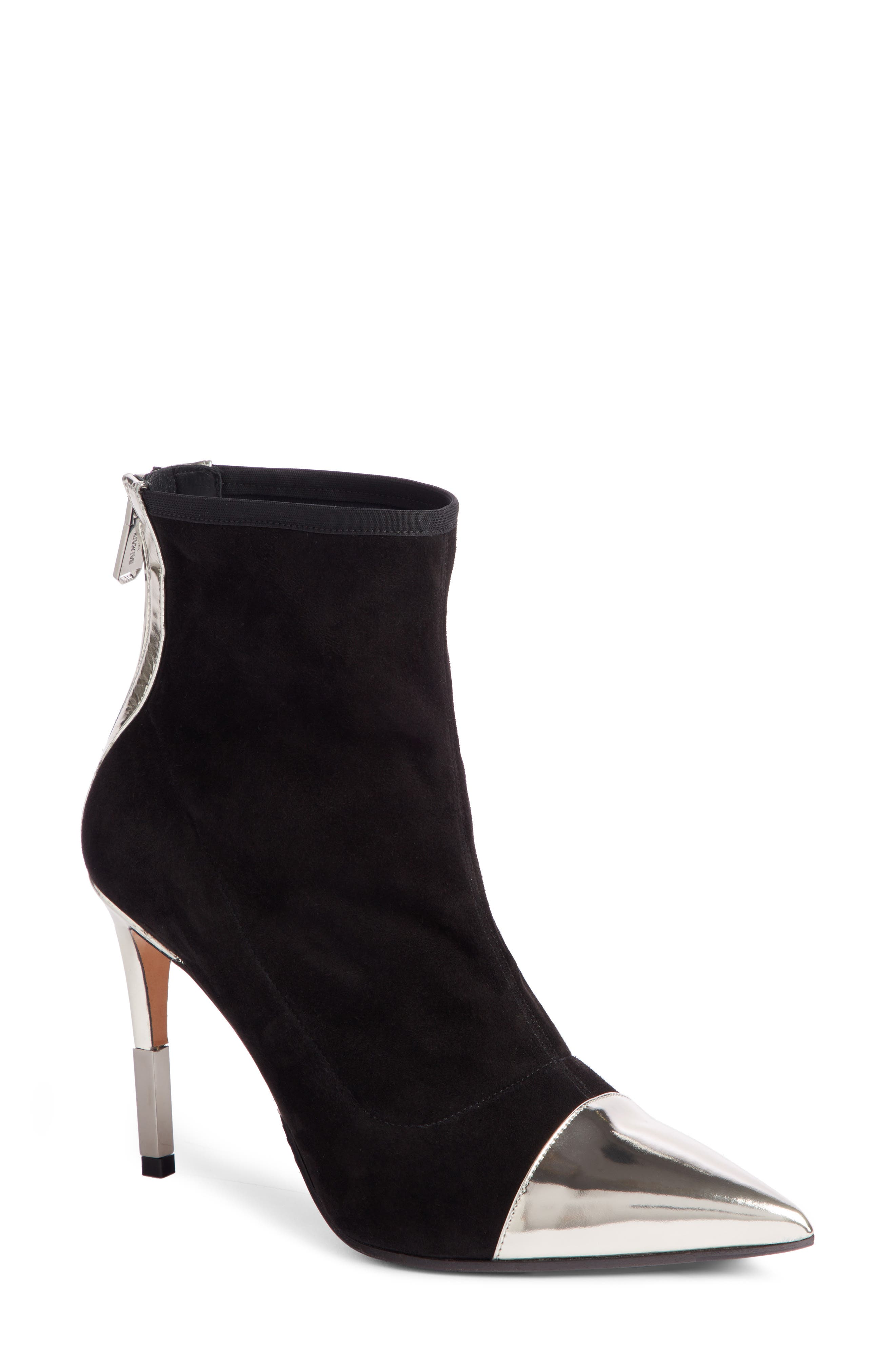 Blair Pointy Toe Bootie,                             Main thumbnail 1, color,                             BLACK/ SILVER