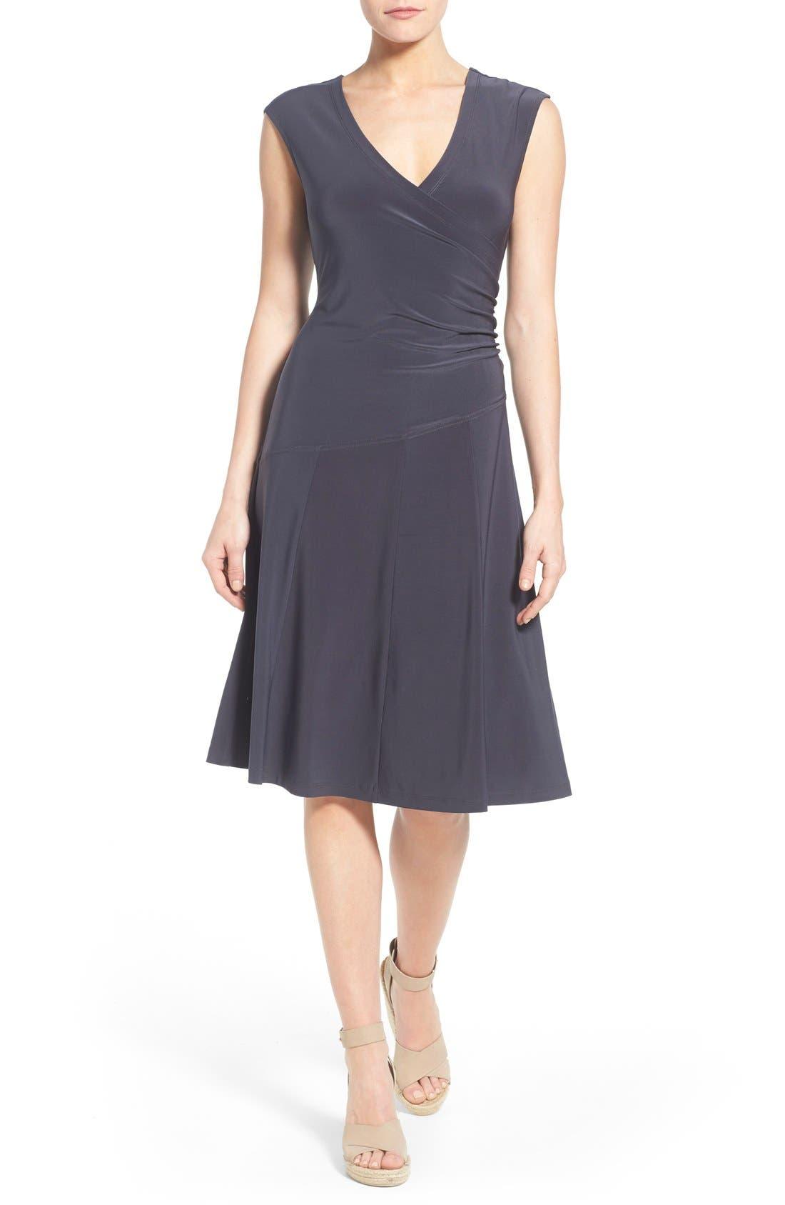 Matte Jersey Faux Wrap Fit & Flare Dress,                             Main thumbnail 2, color,