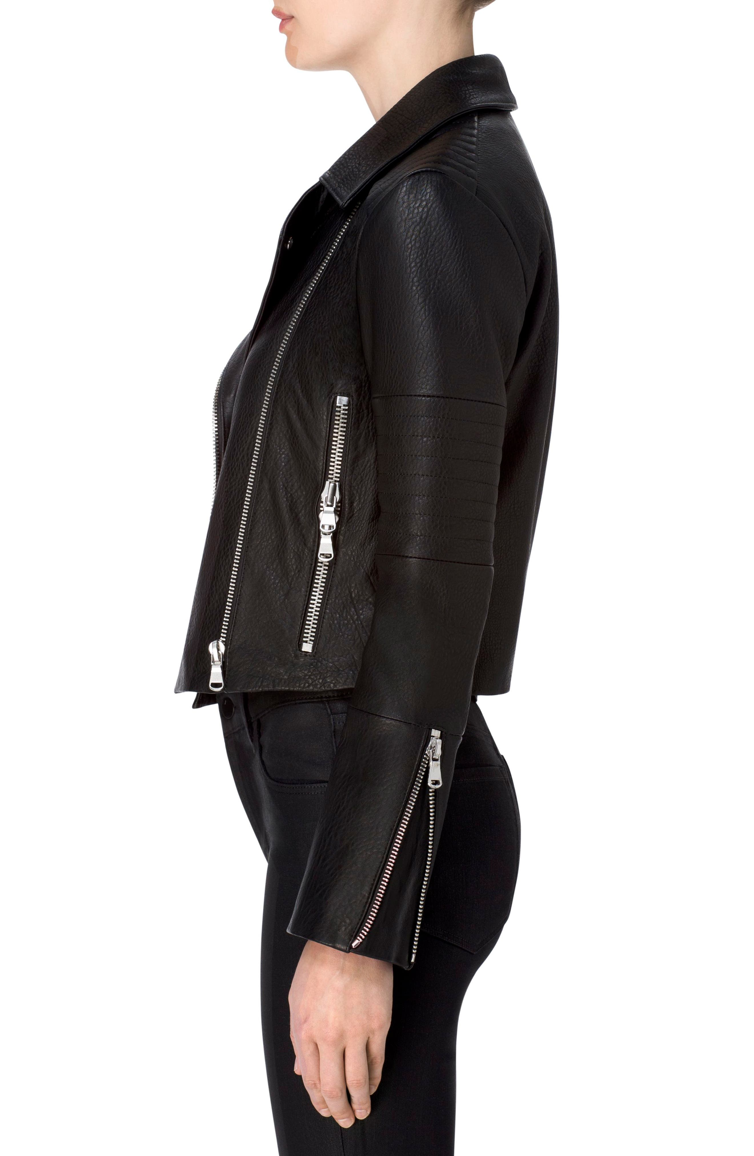 Aiah Leather Moto Jacket,                             Alternate thumbnail 8, color,