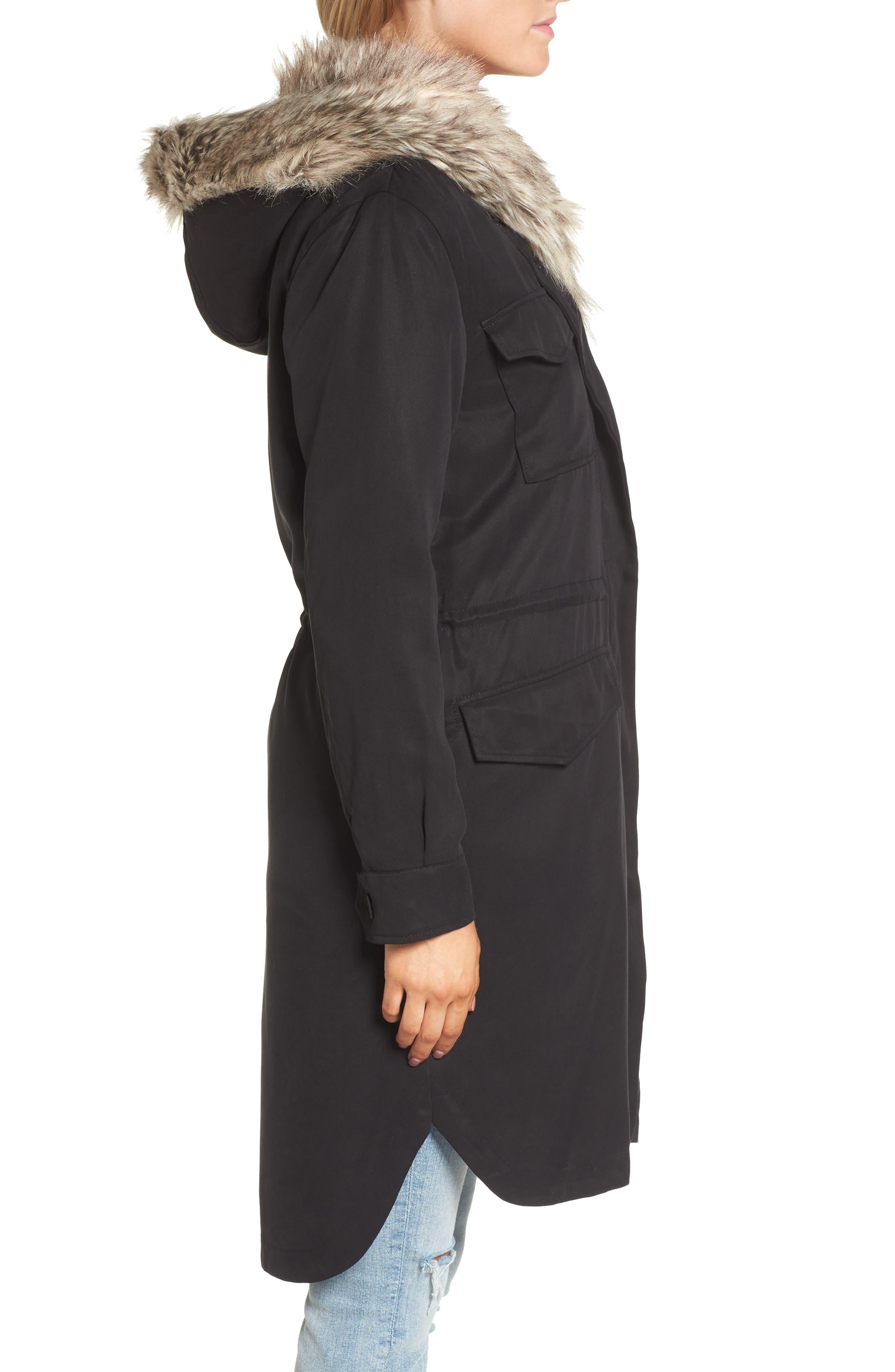 Walsh Tencel<sup>®</sup> Coat with Detachable Hooded Faux Fur Vest,                             Alternate thumbnail 3, color,                             001