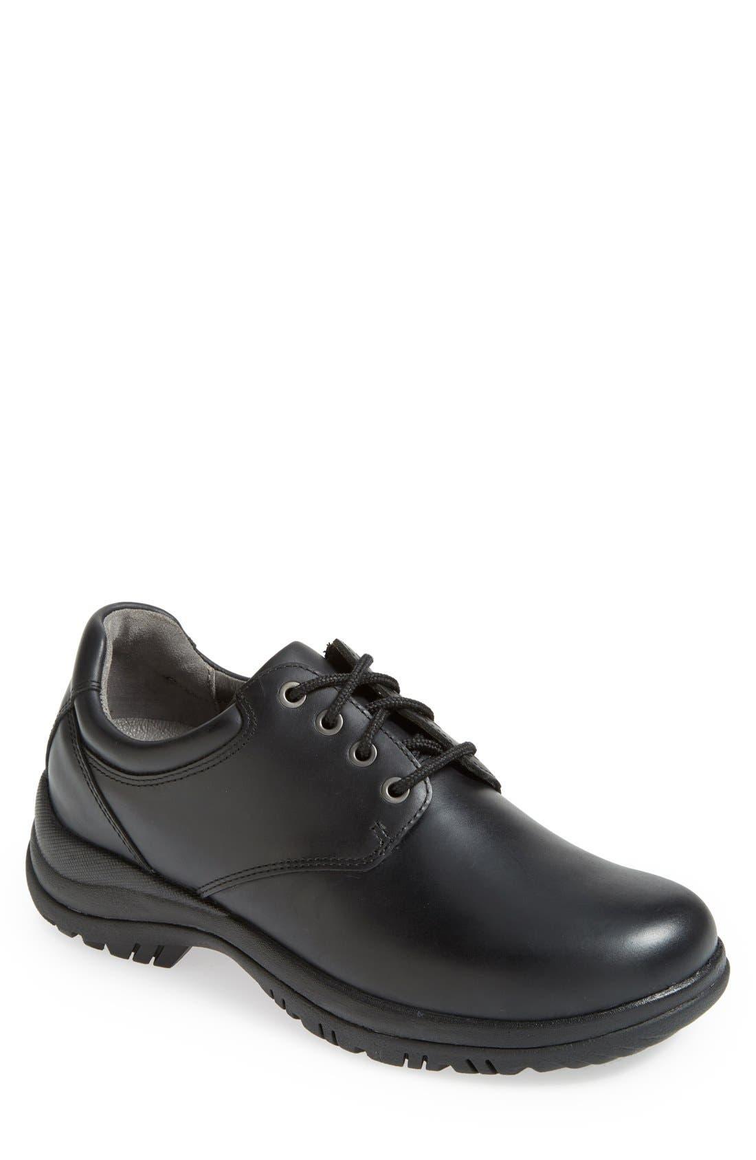 'Walker' Plain Toe Derby,                             Main thumbnail 1, color,                             BLACK SMOOTH