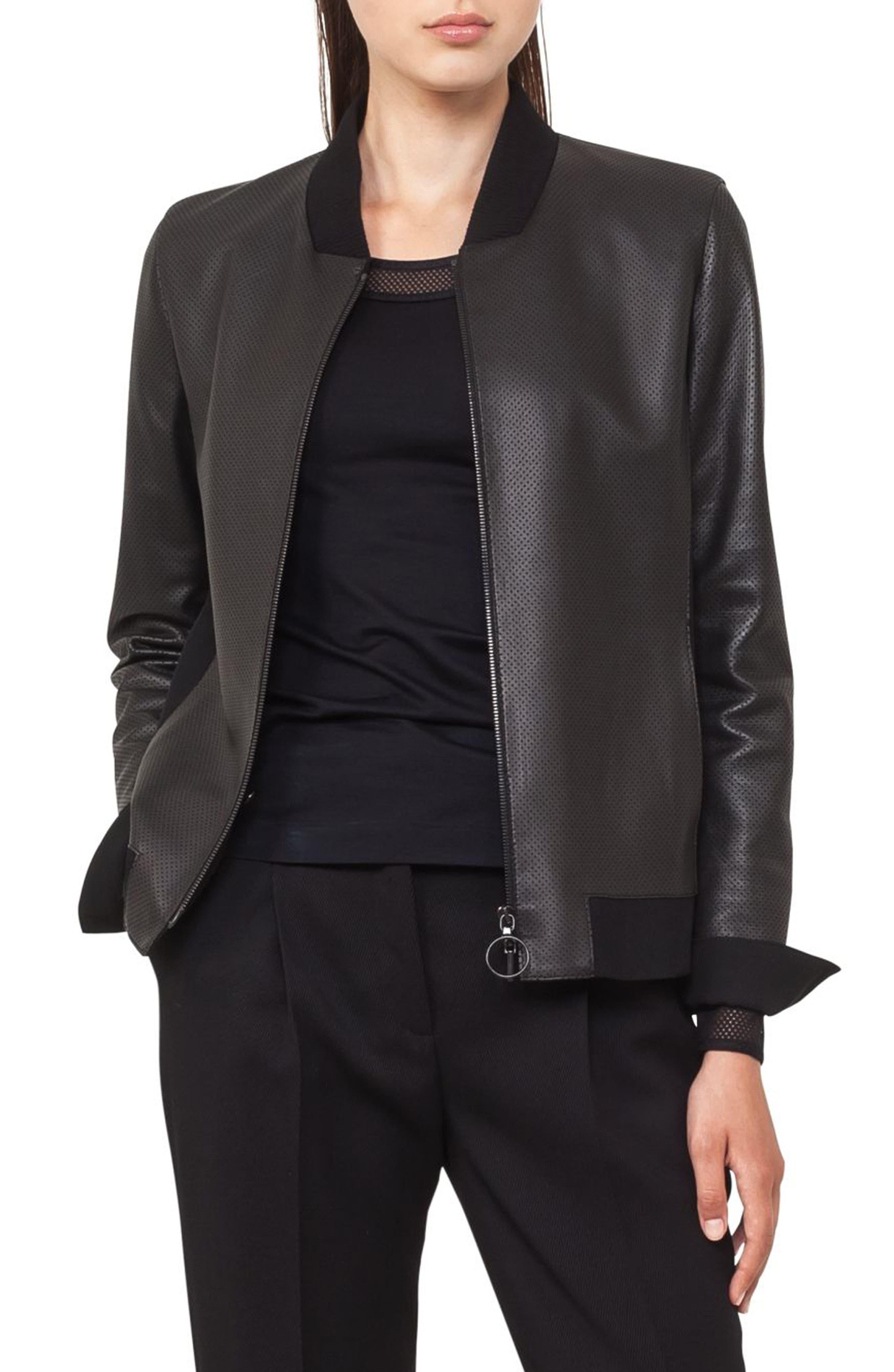 Detachable Hem Leather Bomber Jacket,                         Main,                         color, 009