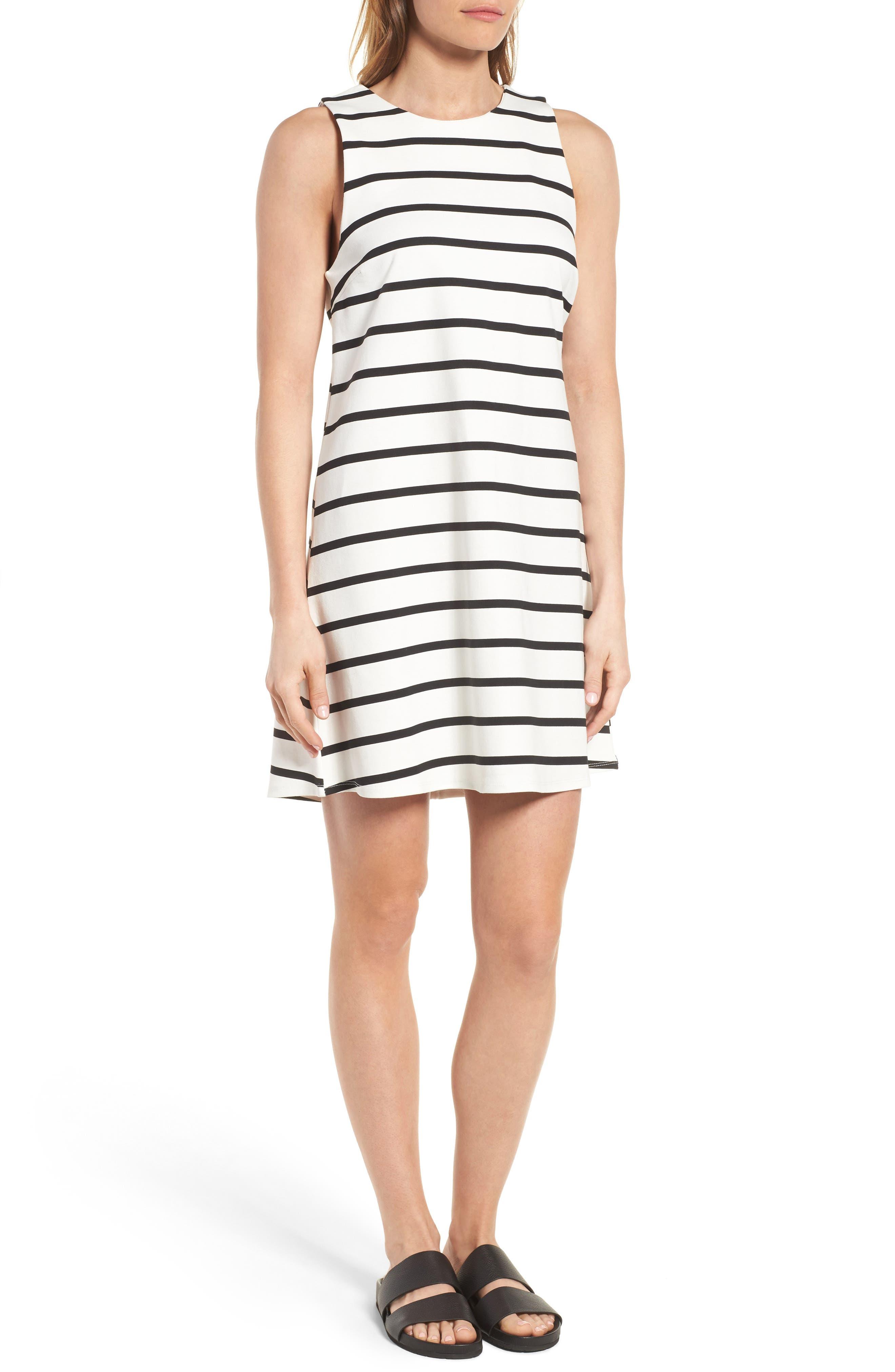 Stripe A-Line Dress,                             Alternate thumbnail 3, color,                             100