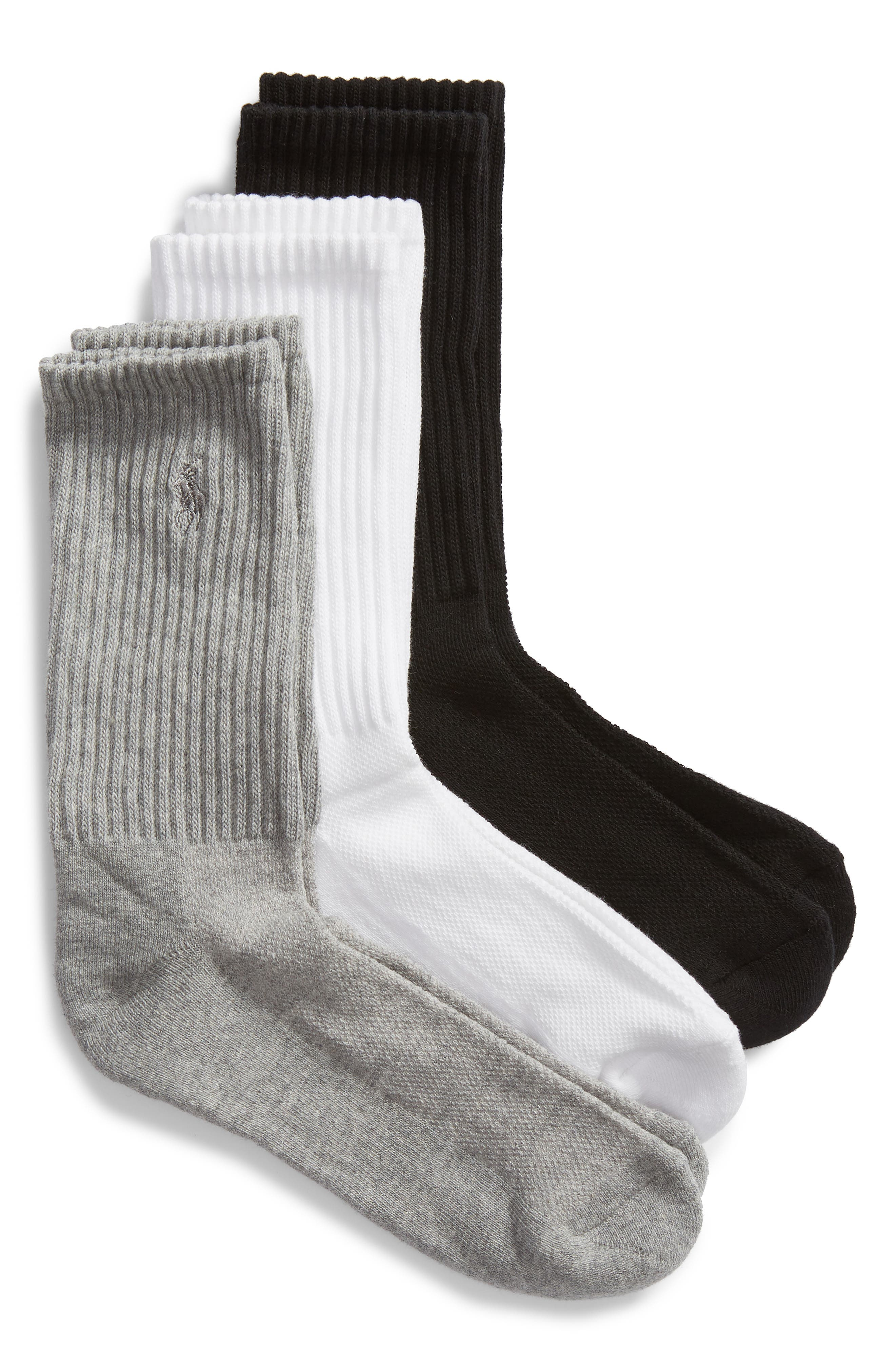 3-Pack Cushion Sole Crew Socks,                             Main thumbnail 1, color,                             100