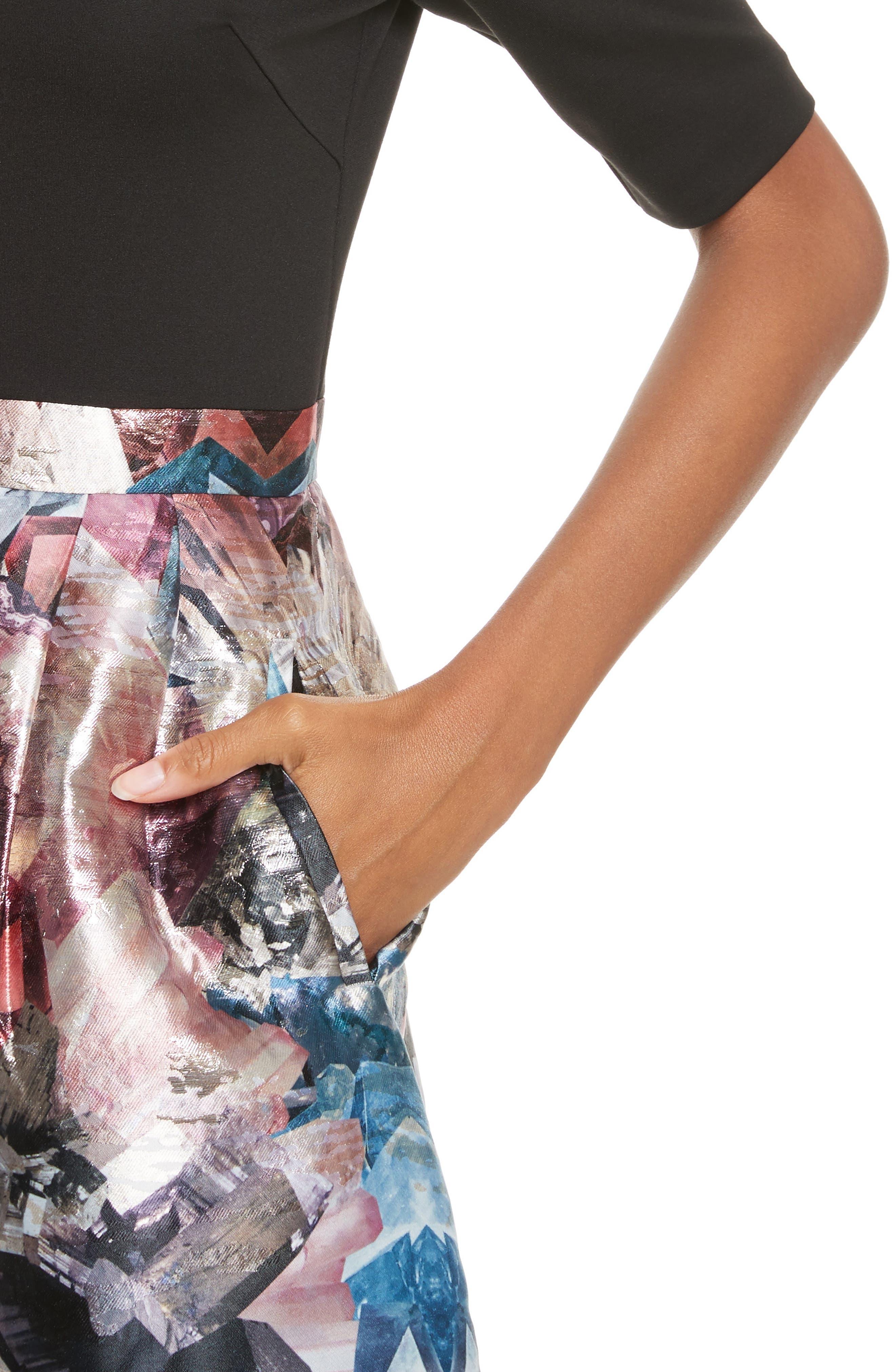 Keris Mirrored Minerals Tulip Fit & Flare Dress,                             Alternate thumbnail 4, color,                             001
