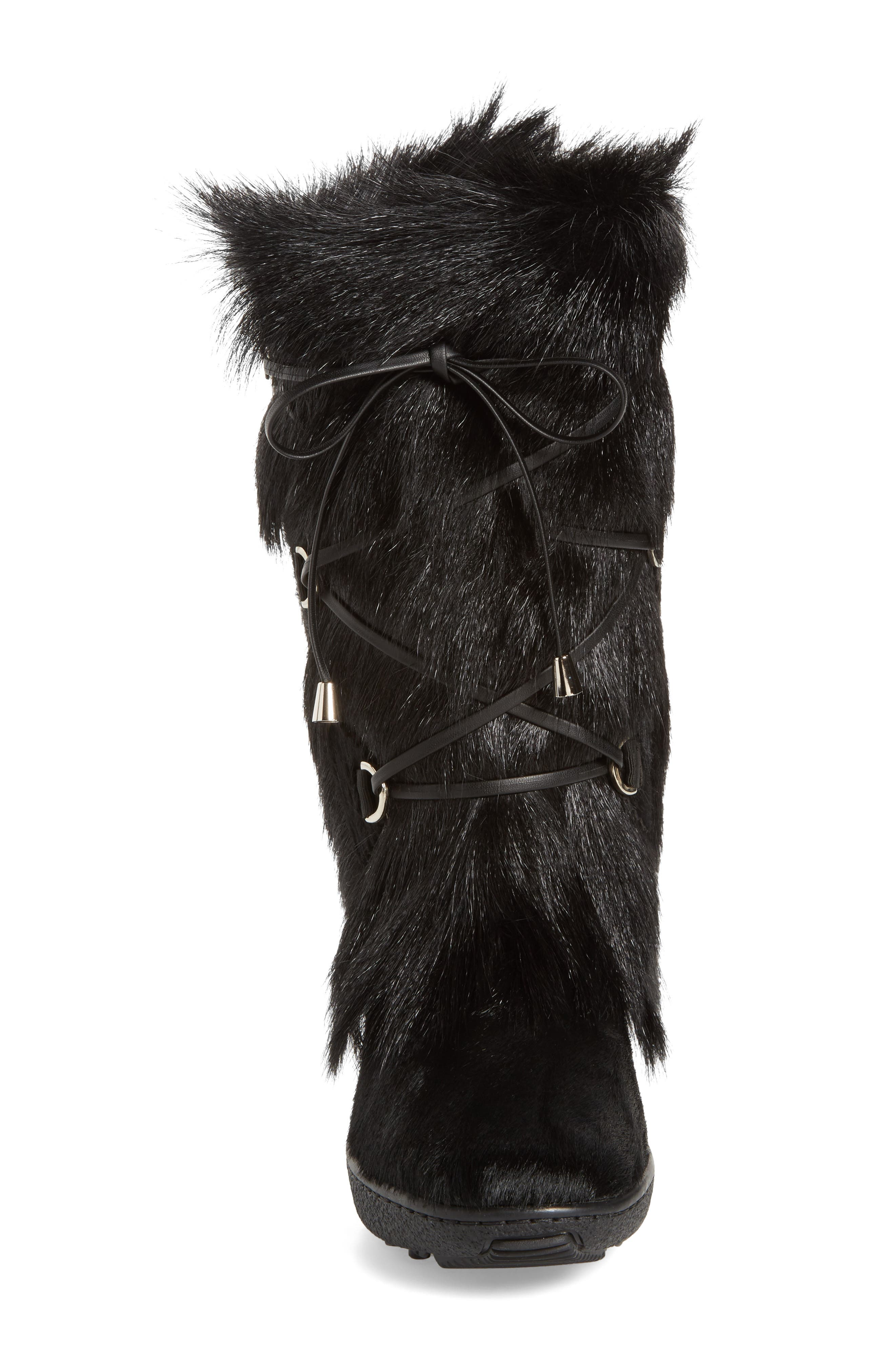 Davos Genuine Goat Fur Boot,                             Alternate thumbnail 4, color,                             001