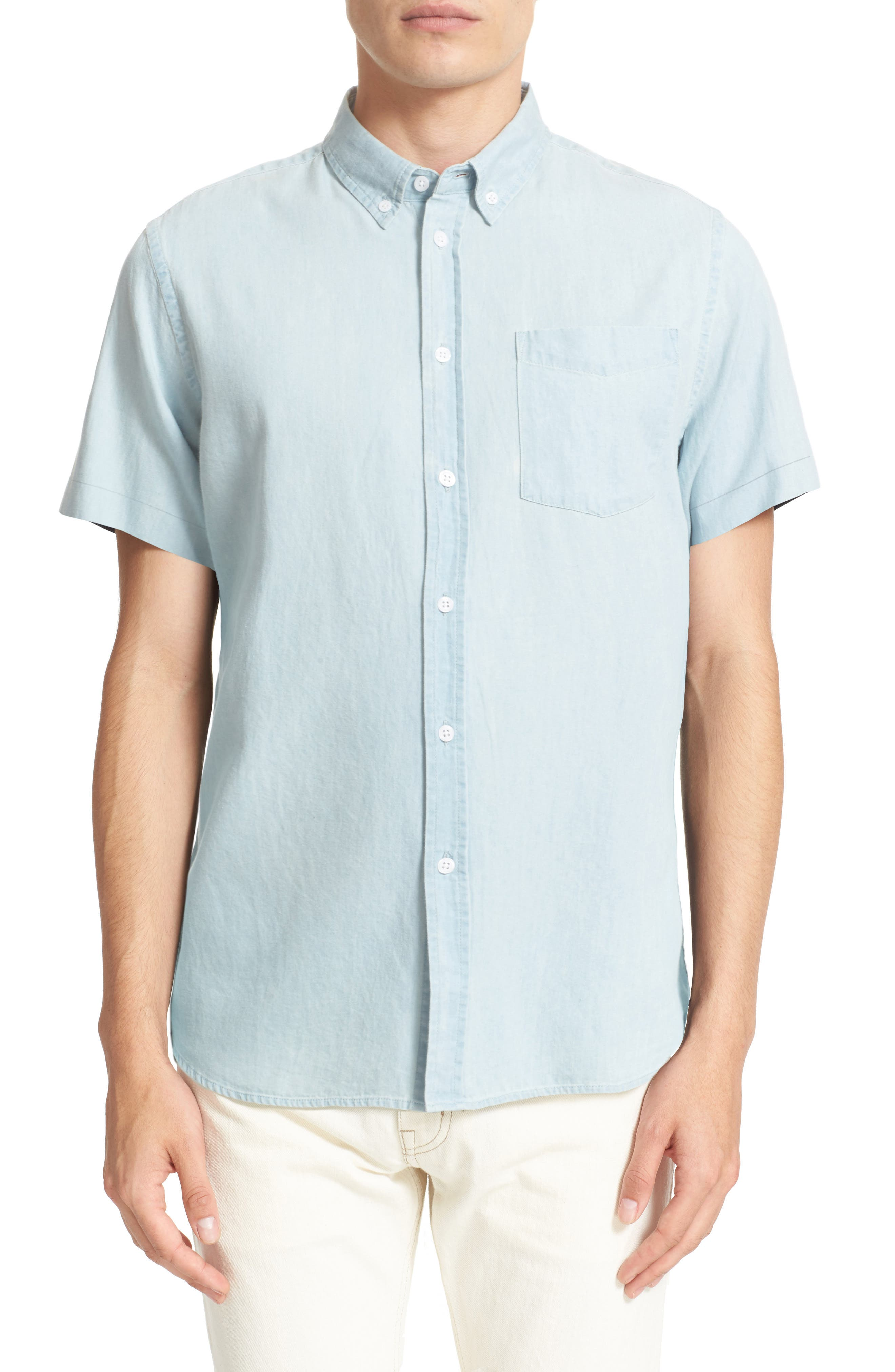 Esquina Slim Fit Denim Sport Shirt,                         Main,                         color, WASHED INDIGO