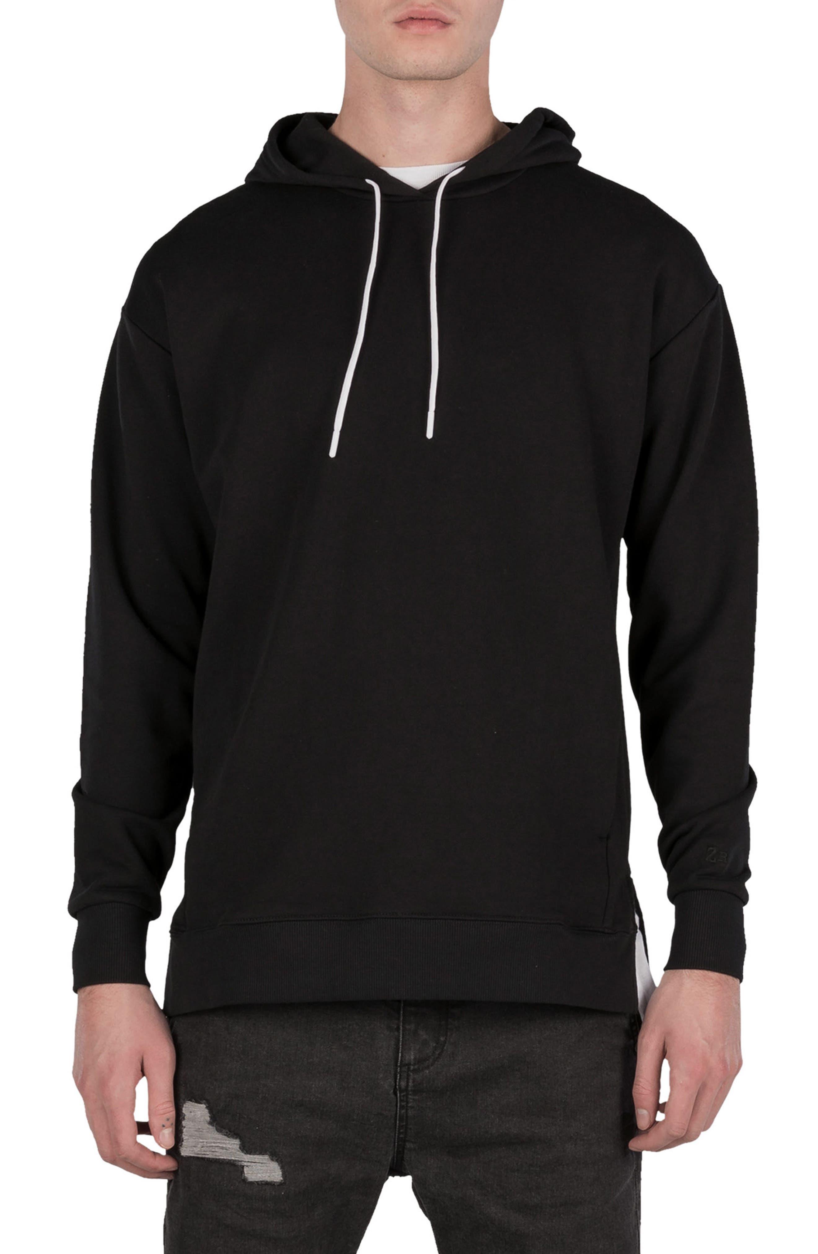 Rugger Hooded Sweatshirt,                         Main,                         color, BLACK