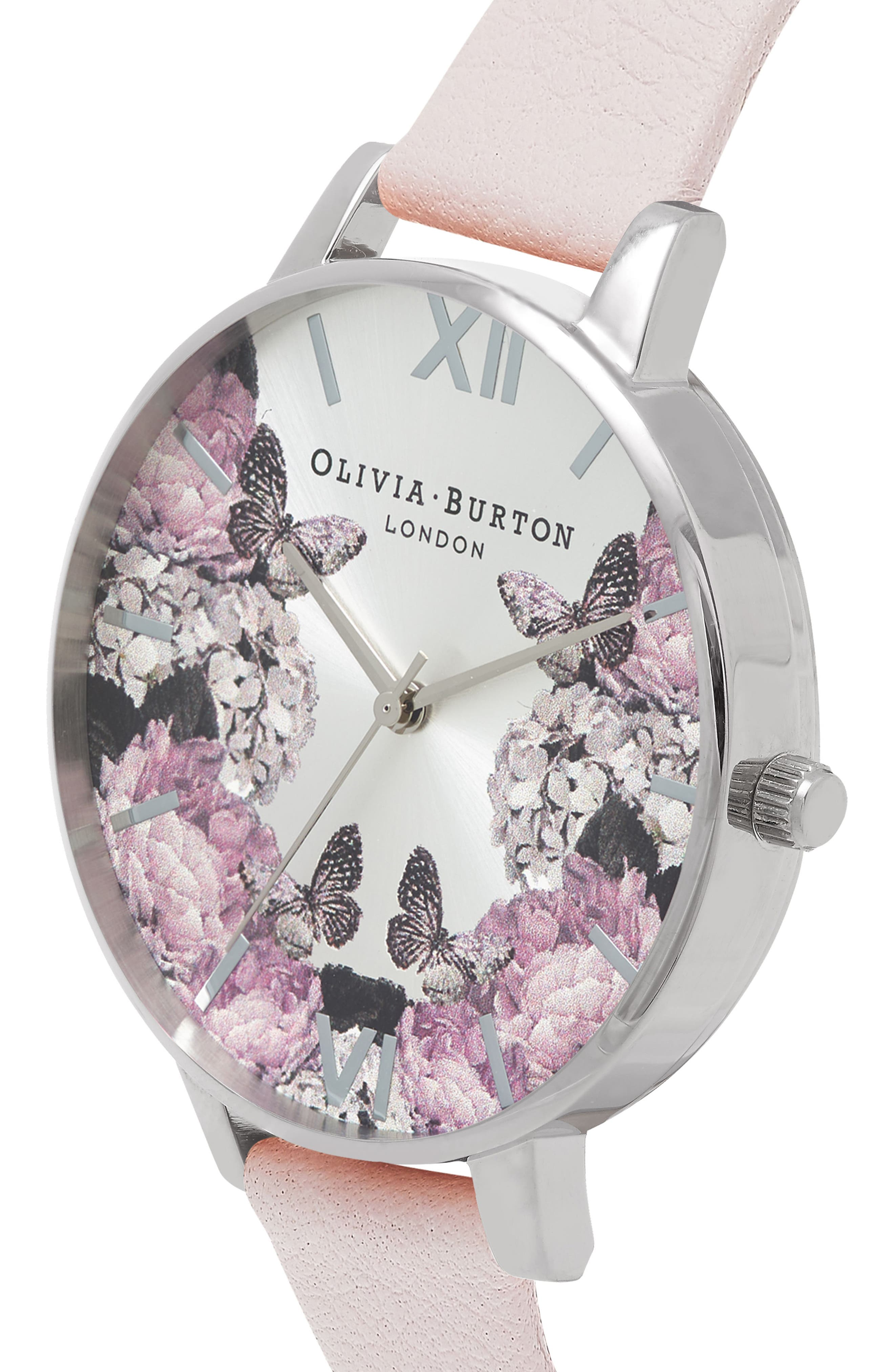 Signature Floral Leather Strap Watch, 38mm,                             Alternate thumbnail 3, color,                             BLUSH/ BLACK/ SILVER