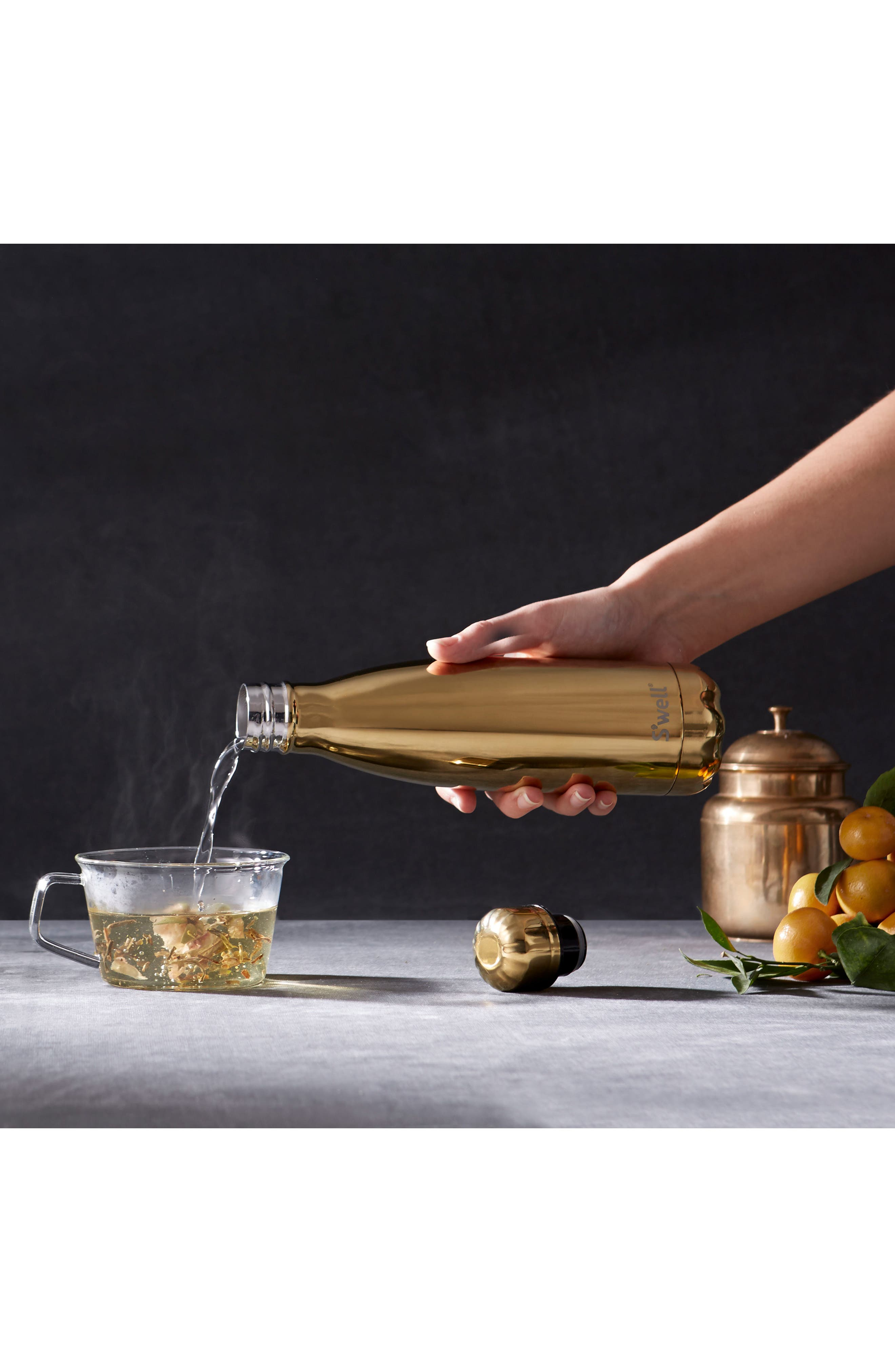 'Metallic Collection - Yellow Gold' Stainless Steel Water Bottle,                             Alternate thumbnail 3, color,