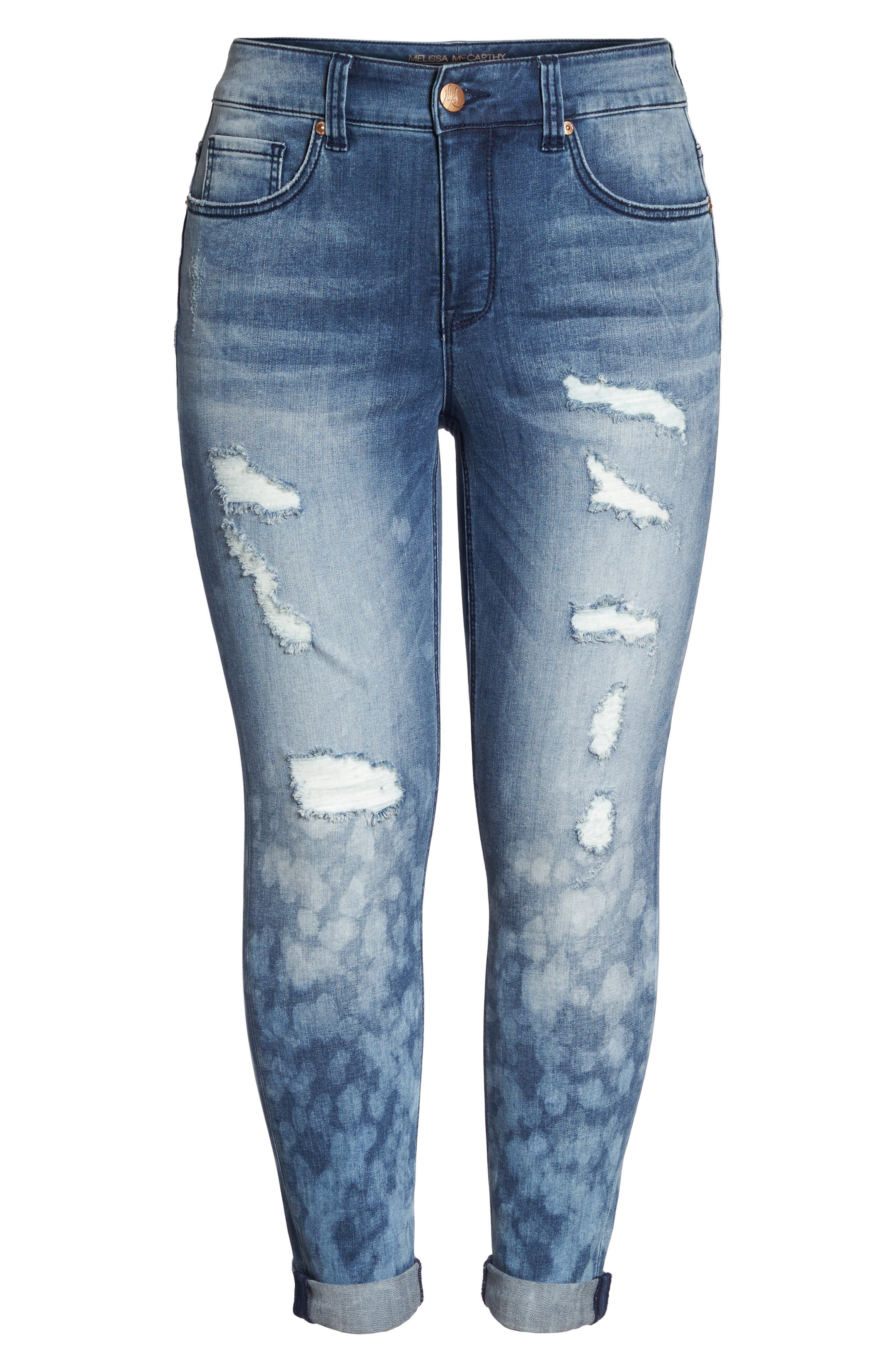 Destructed Roll Cuff Skinny Jeans,                             Alternate thumbnail 6, color,                             409