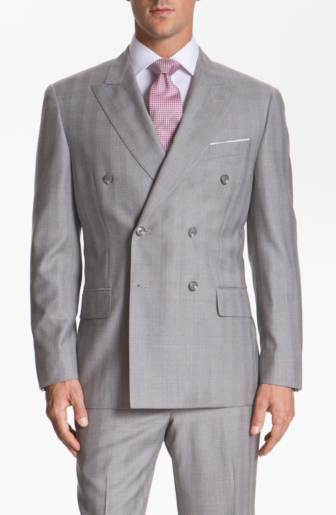 JOSEPH ABBOUD,                             'Platinum' Double Breasted Suit,                             Alternate thumbnail 3, color,                             050