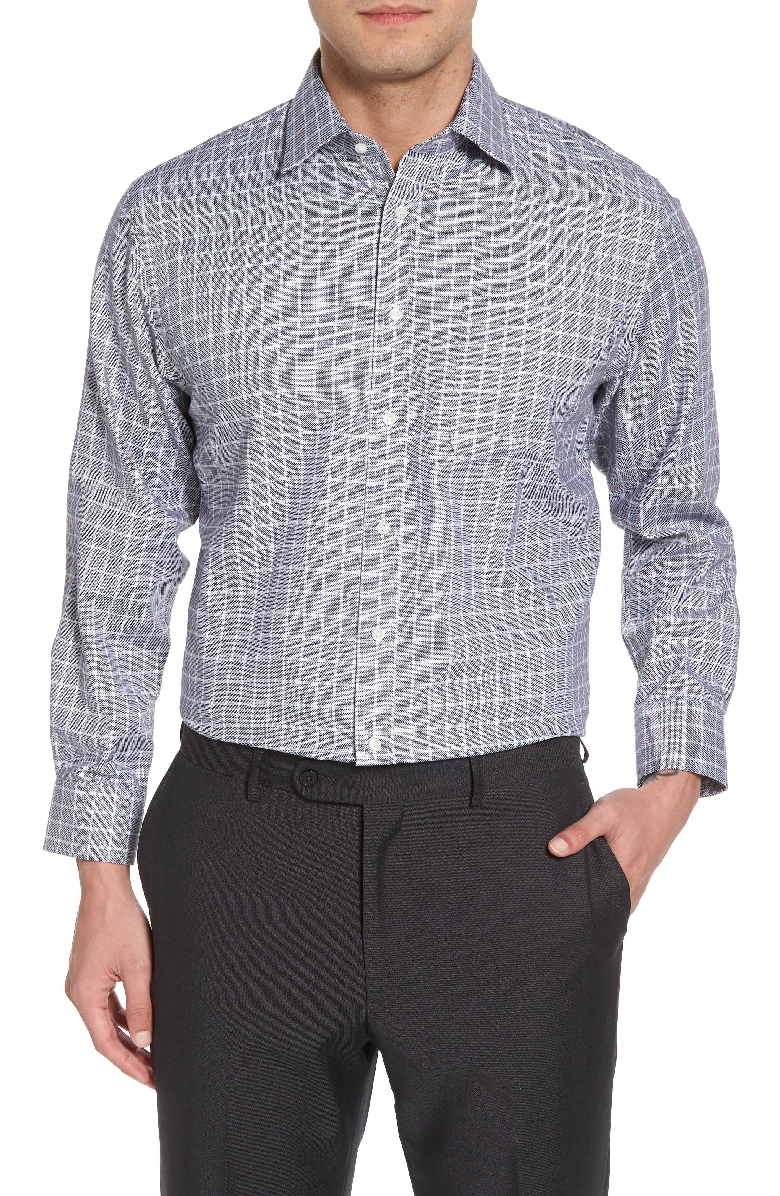 Traditional Fit Non-Iron Check Dress Shirt,                         Main,                         color, 001