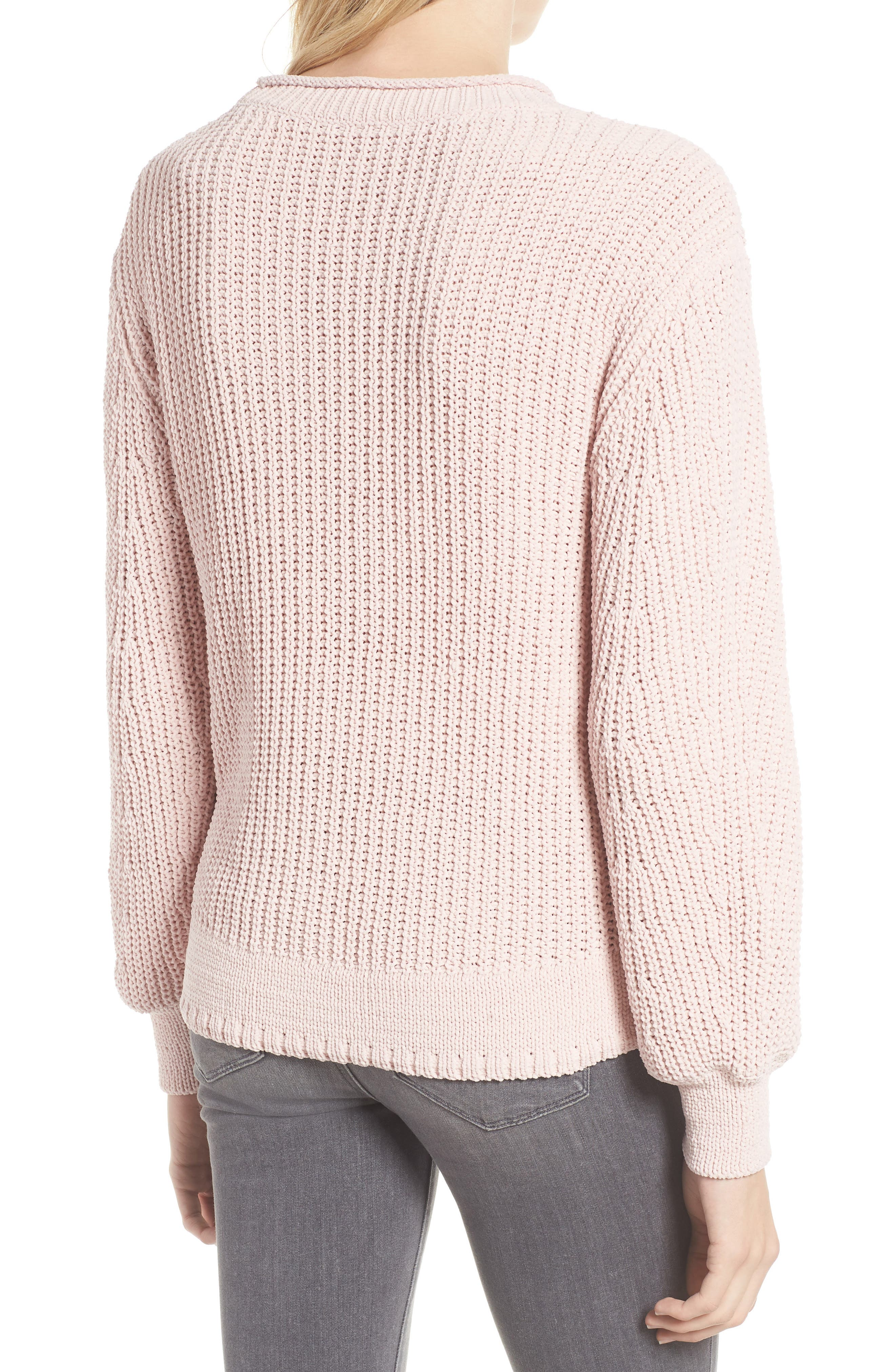 Chenille Crewneck Sweater,                             Alternate thumbnail 2, color,                             PINK SEPIA